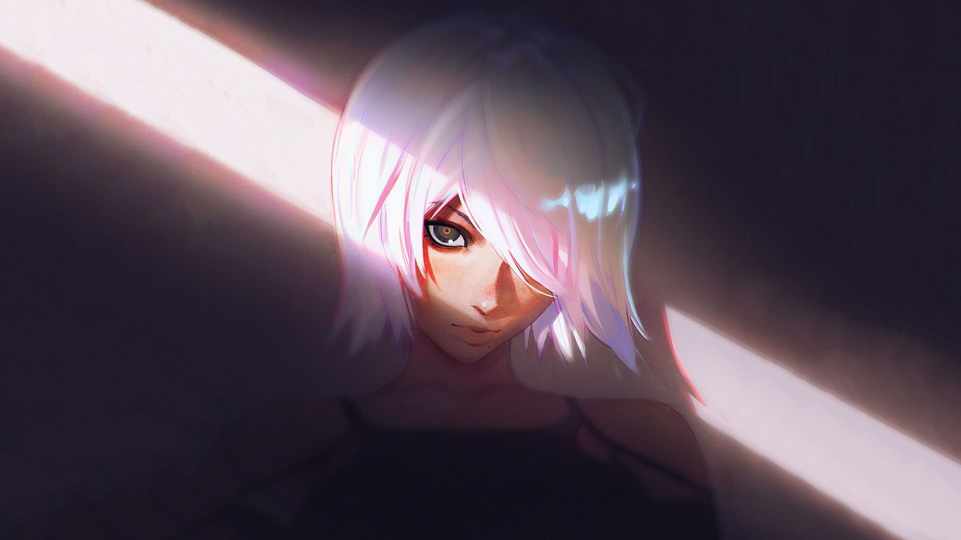 Face Short Hair White Hair Woman 1920x1080
