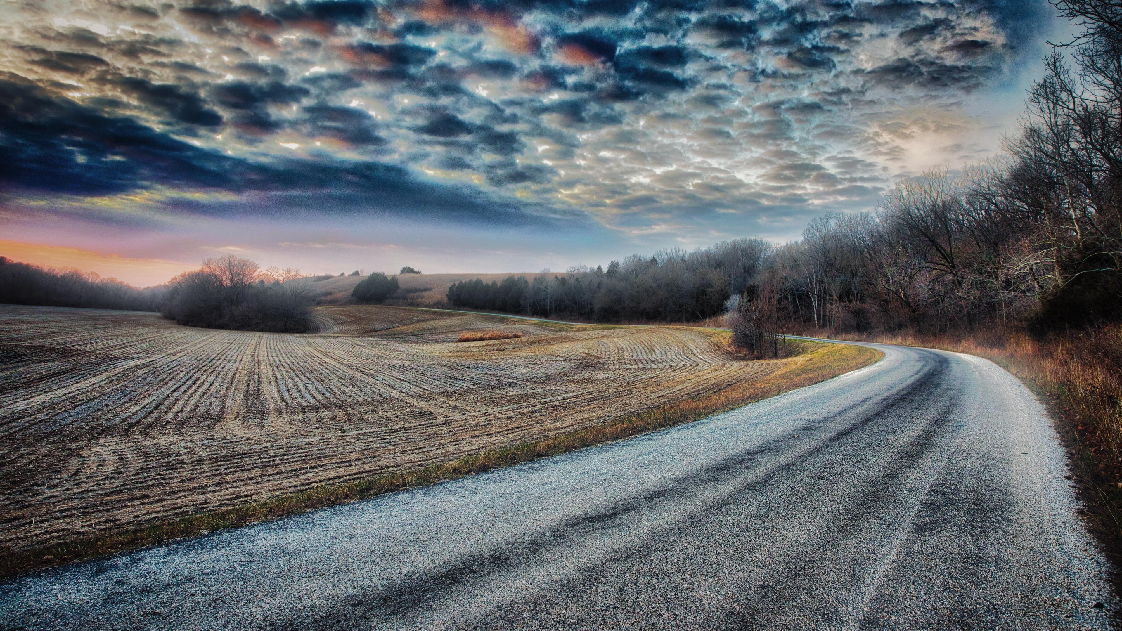 Field Road Sky 3840x2160