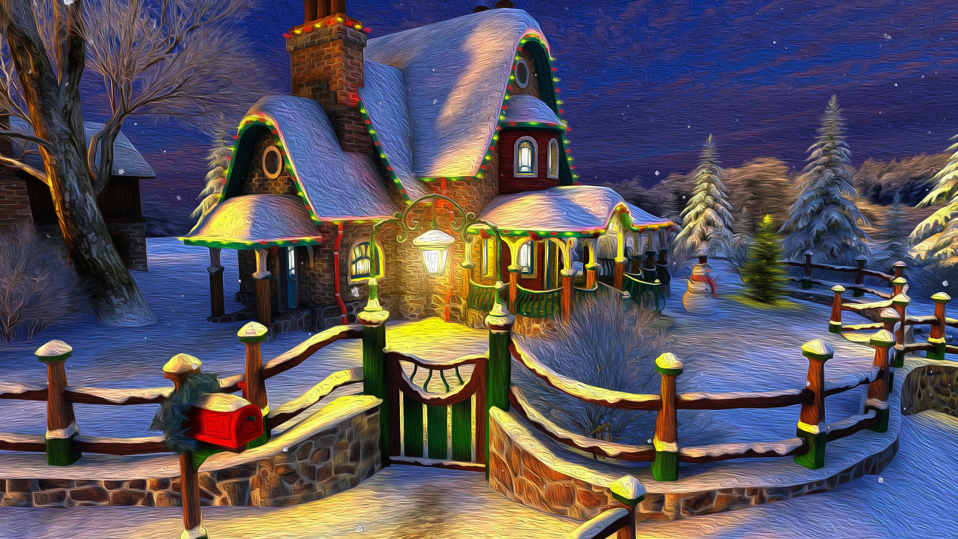 Christmas Holiday Light Oil Painting 3840x2160