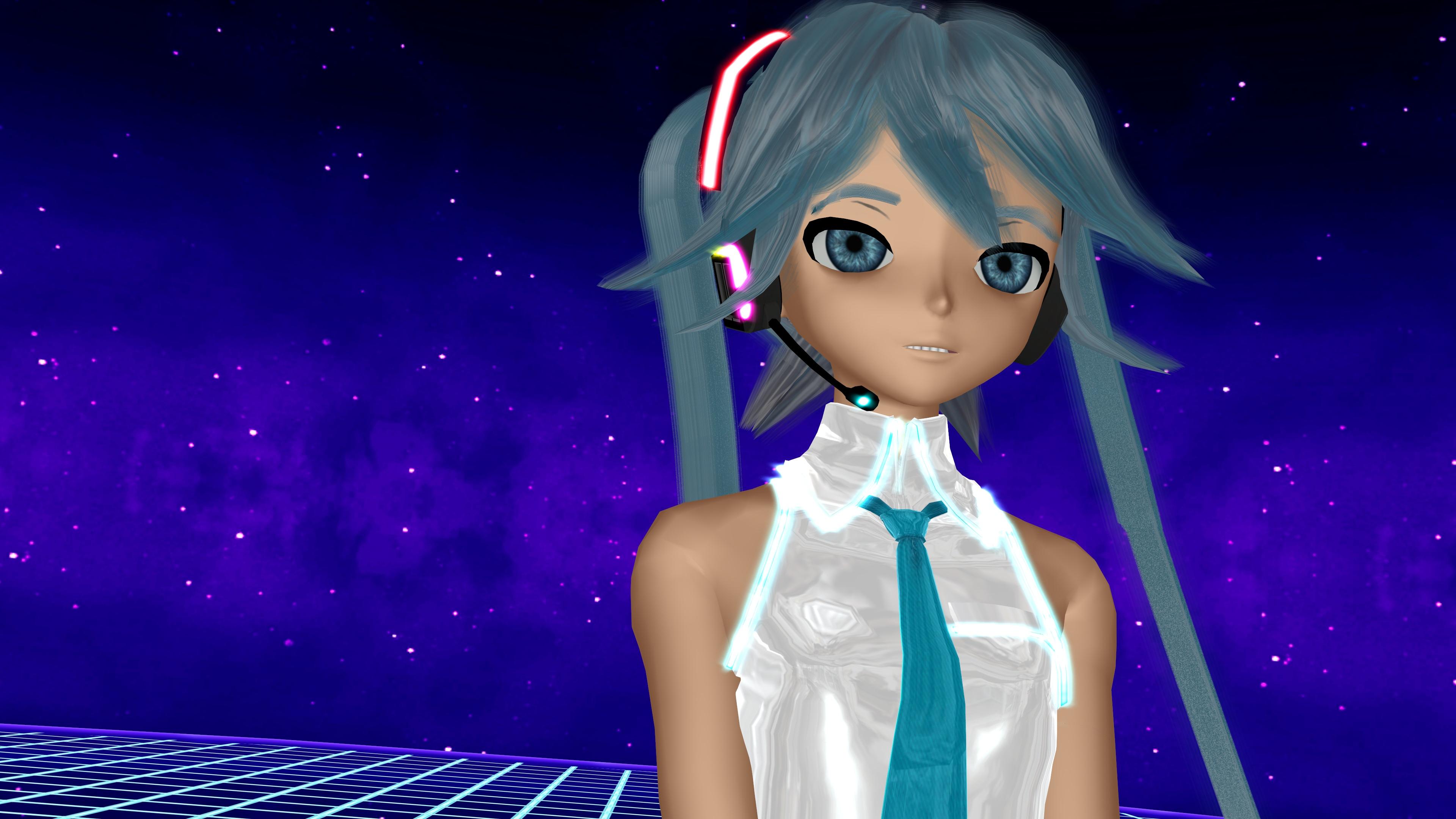 Blue Eyes Blue Hair Hatsune Miku Vocaloid 3840x2160