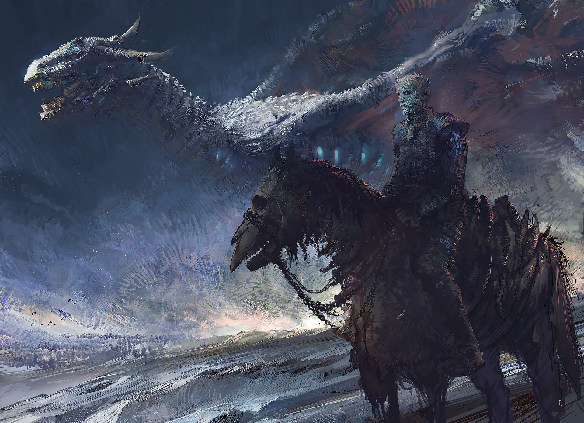 Dragon Game Of Thrones Night King Game Of Thrones White Walker 1920x1391
