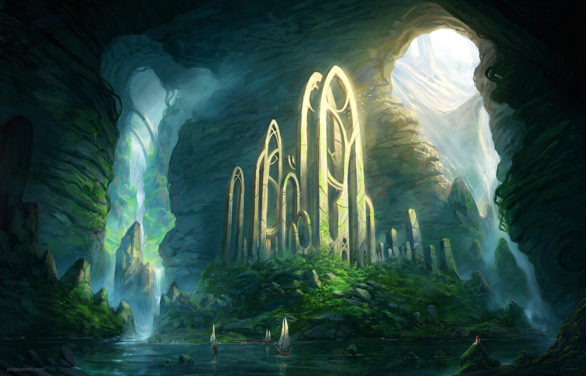 Fantasy Art Temple Artwork 1900x1219
