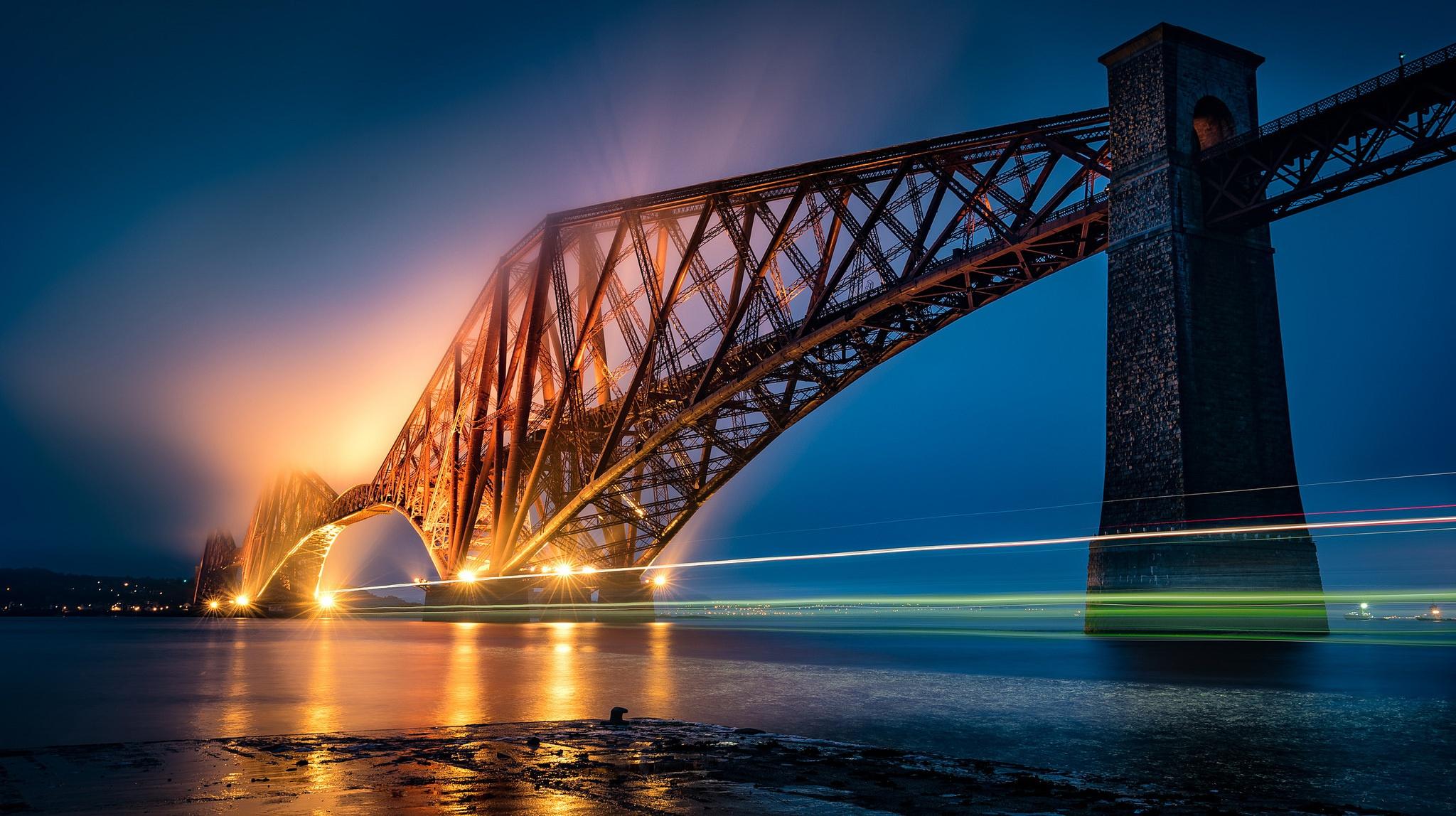 Edinburgh Forth Bridge Light Night Scotland 2048x1148