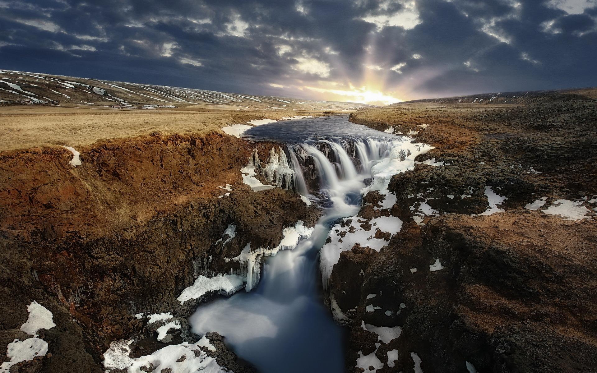 Landscape Nature River Sunrise Waterfall 1920x1200