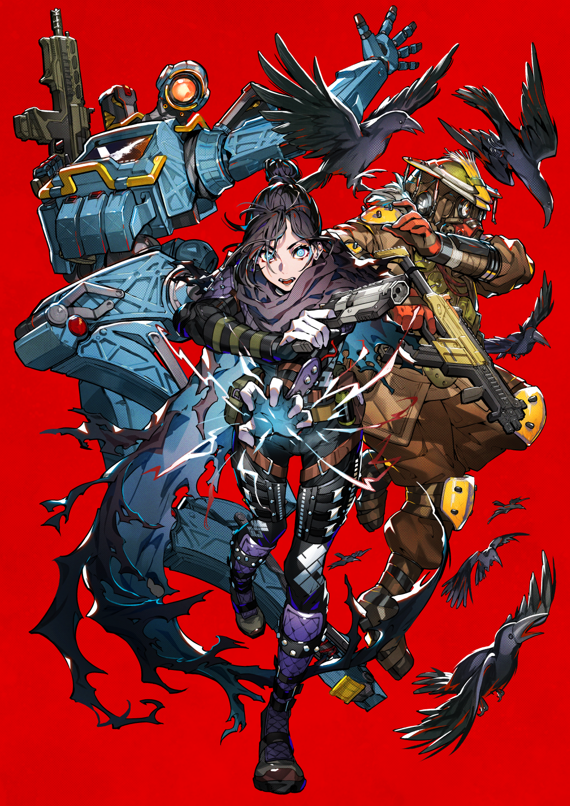 Video Game Art Simple Background Red Background Apex Legends Mika Pikazo Vertical Frontal View Raven 1131x1600