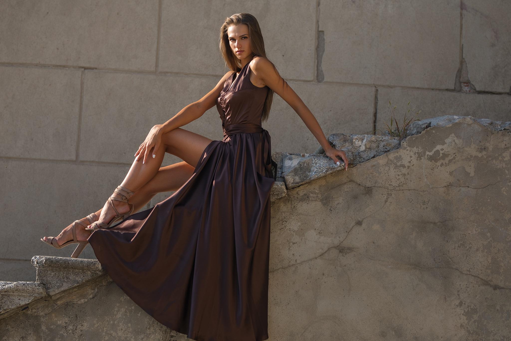 Brunette Dress Girl Long Hair Model Woman 2048x1365