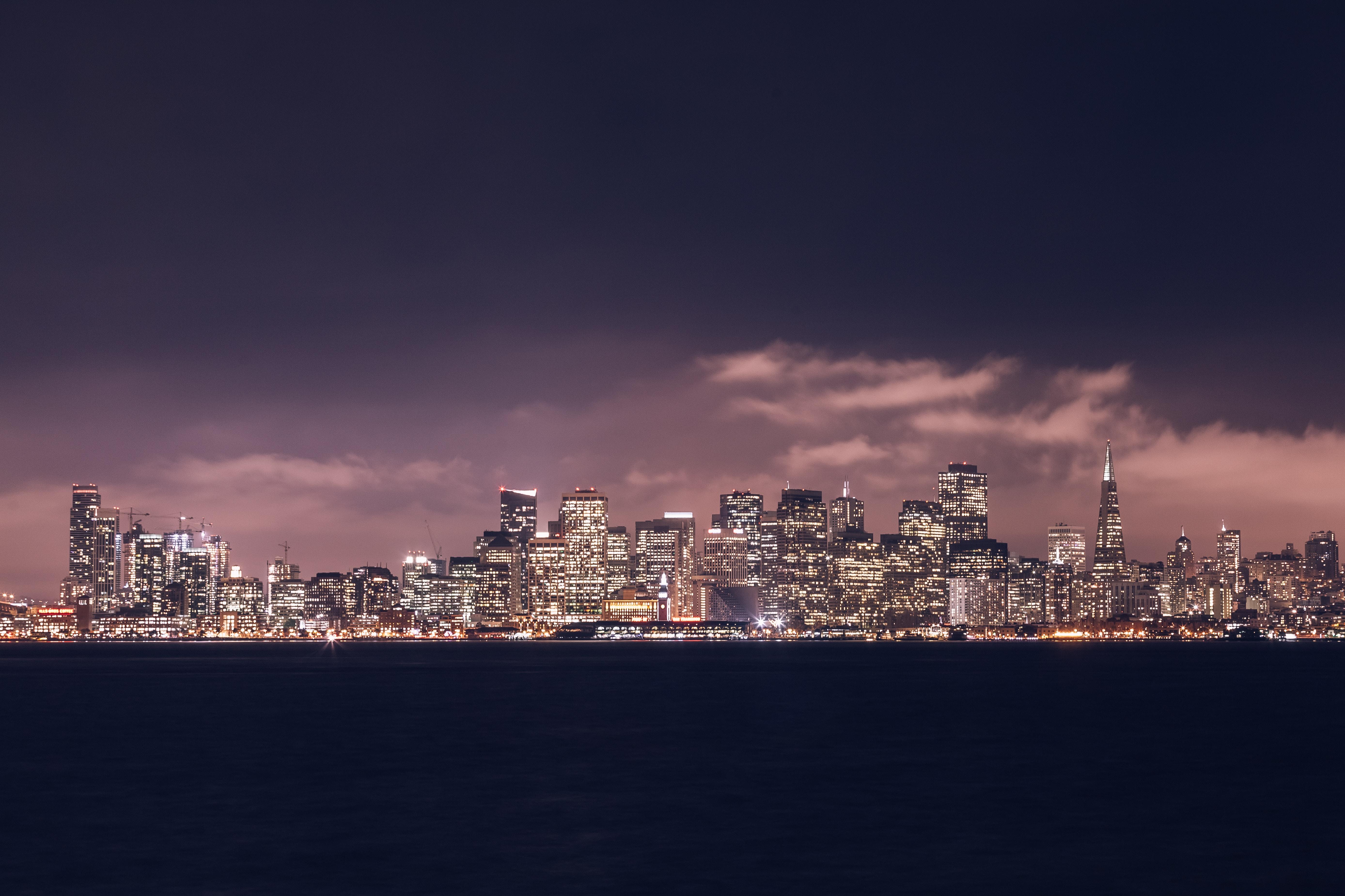 Building City Night San Francisco Skyscraper Usa 5552x3701