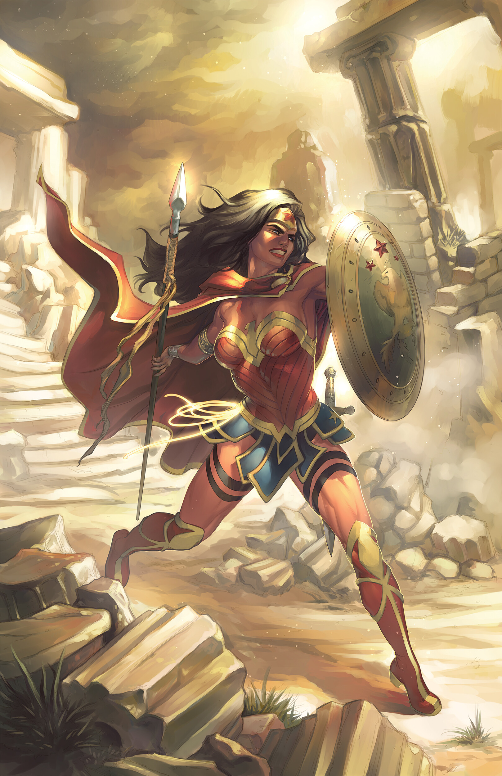 Meghan Hetrick Artwork ArtStation Women Fantasy Art Warrior Fantasy Girl Wonder Woman Spear Shield C 1618x2500