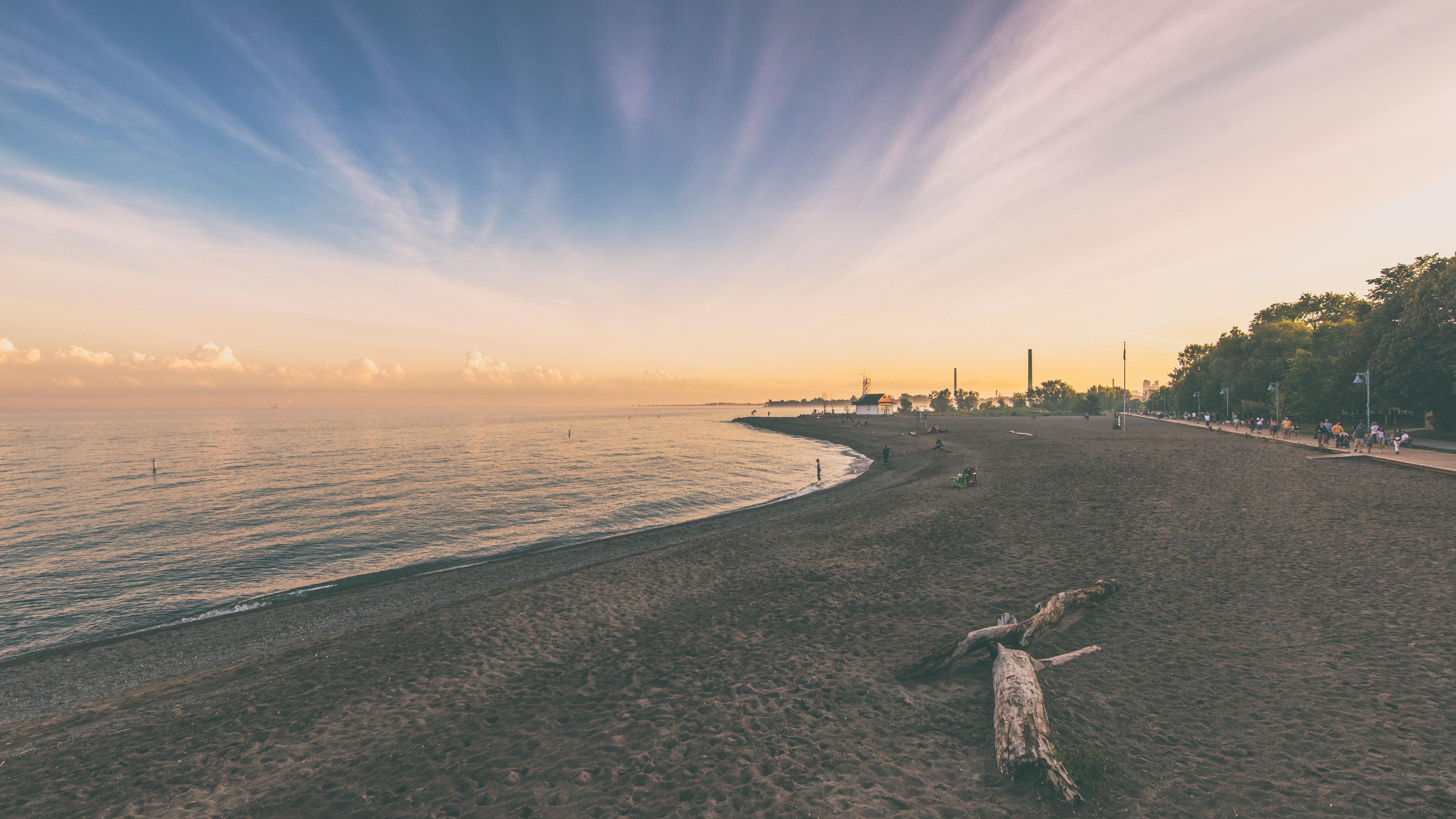Beach Sunset Toronto Nature Landscape Sand Water Ocean View Water Ripples Coast Coastline Filter Fil 3840x2160