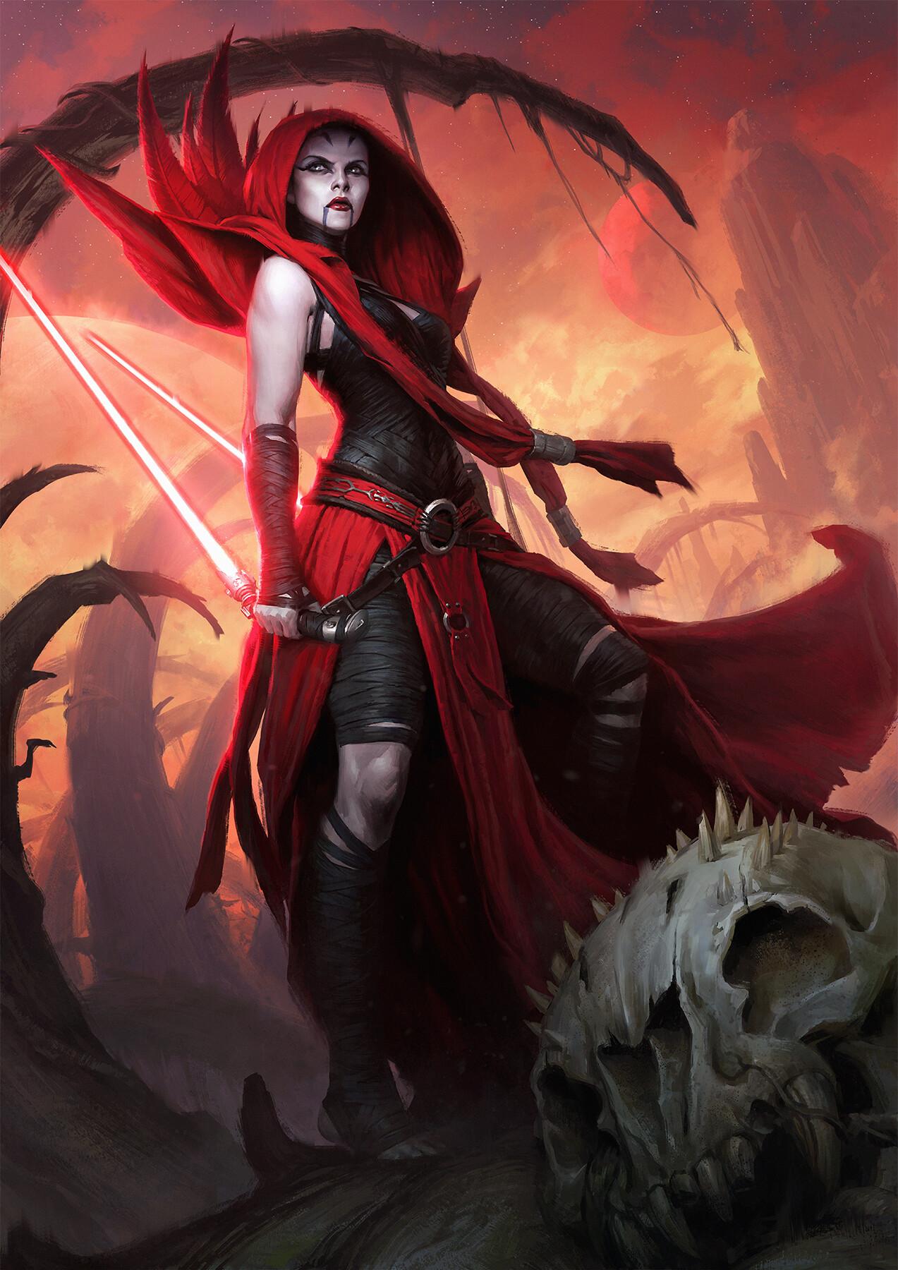 Darren Tan Asajj Ventress Women Sith Star Wars USA Standing Lightsaber Star Wars Villains Science Fi 1273x1800