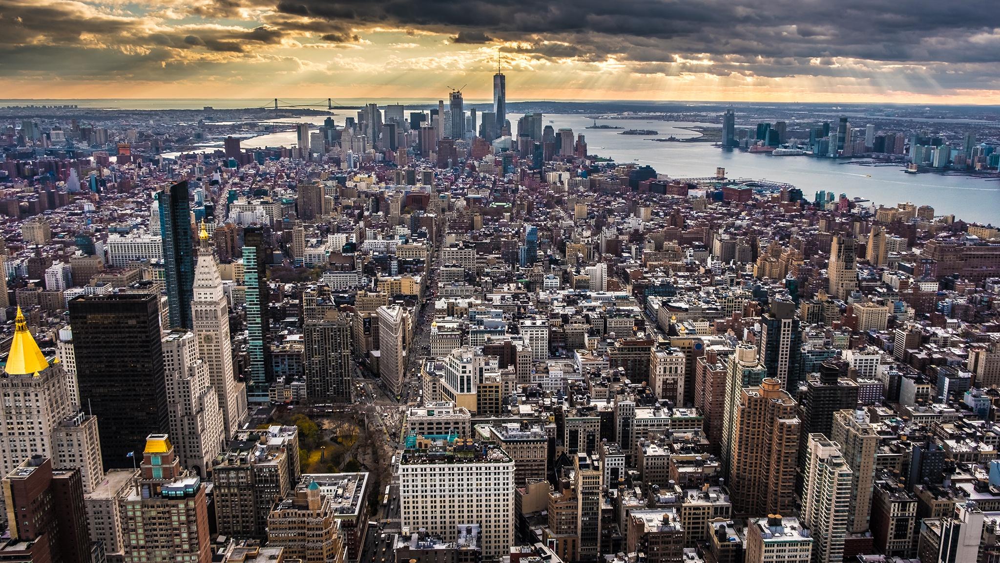 Building City Cityscape Empire State Building New York Skyscraper Usa 2048x1152