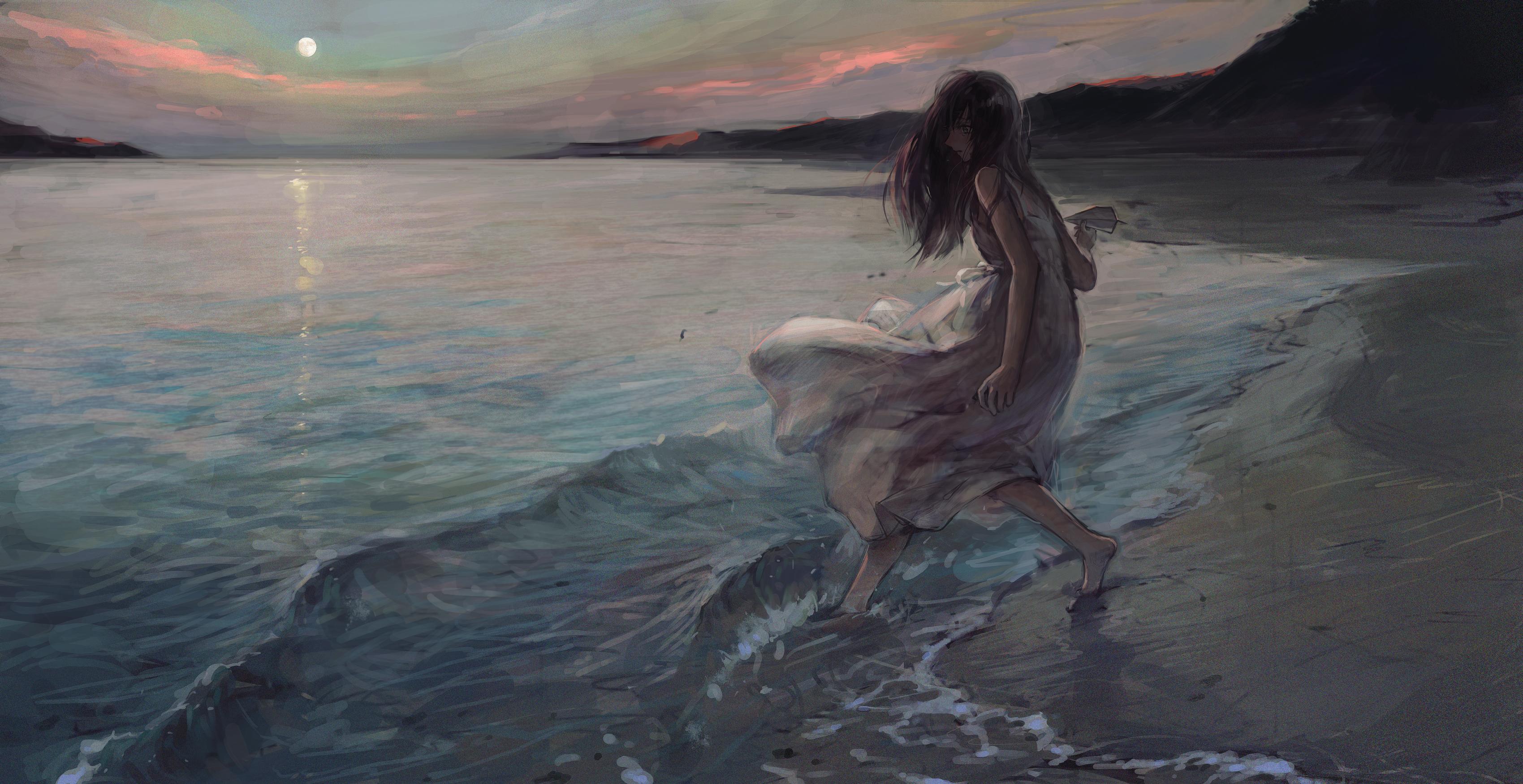 Anime Tentwo Anime Girls Beach Barefoot Dress Sun Dress Dark Hair 3399x1750