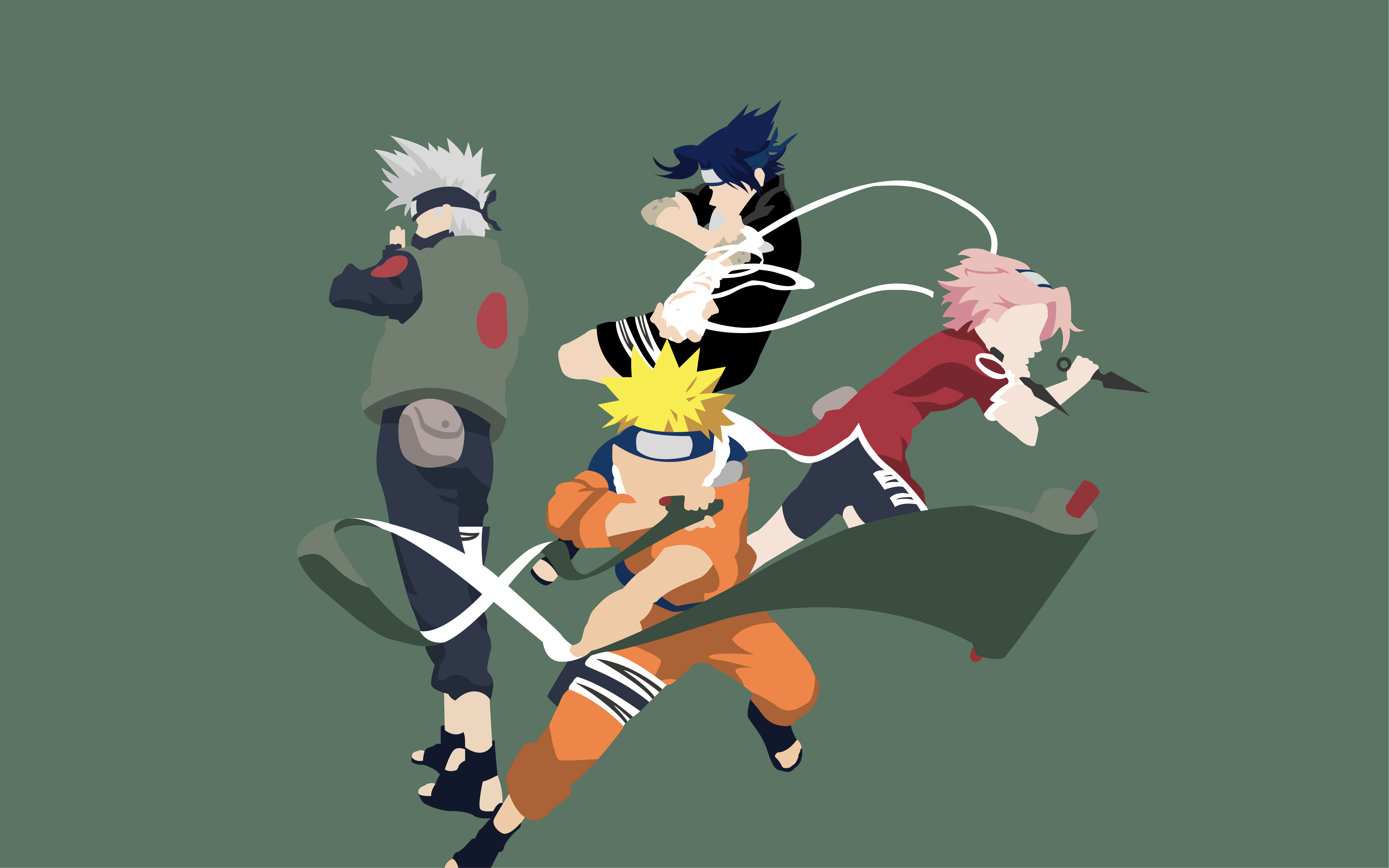 Kakashi Hatake Naruto Uzumaki Sakura Haruno Sasuke Uchiha 4763x2977