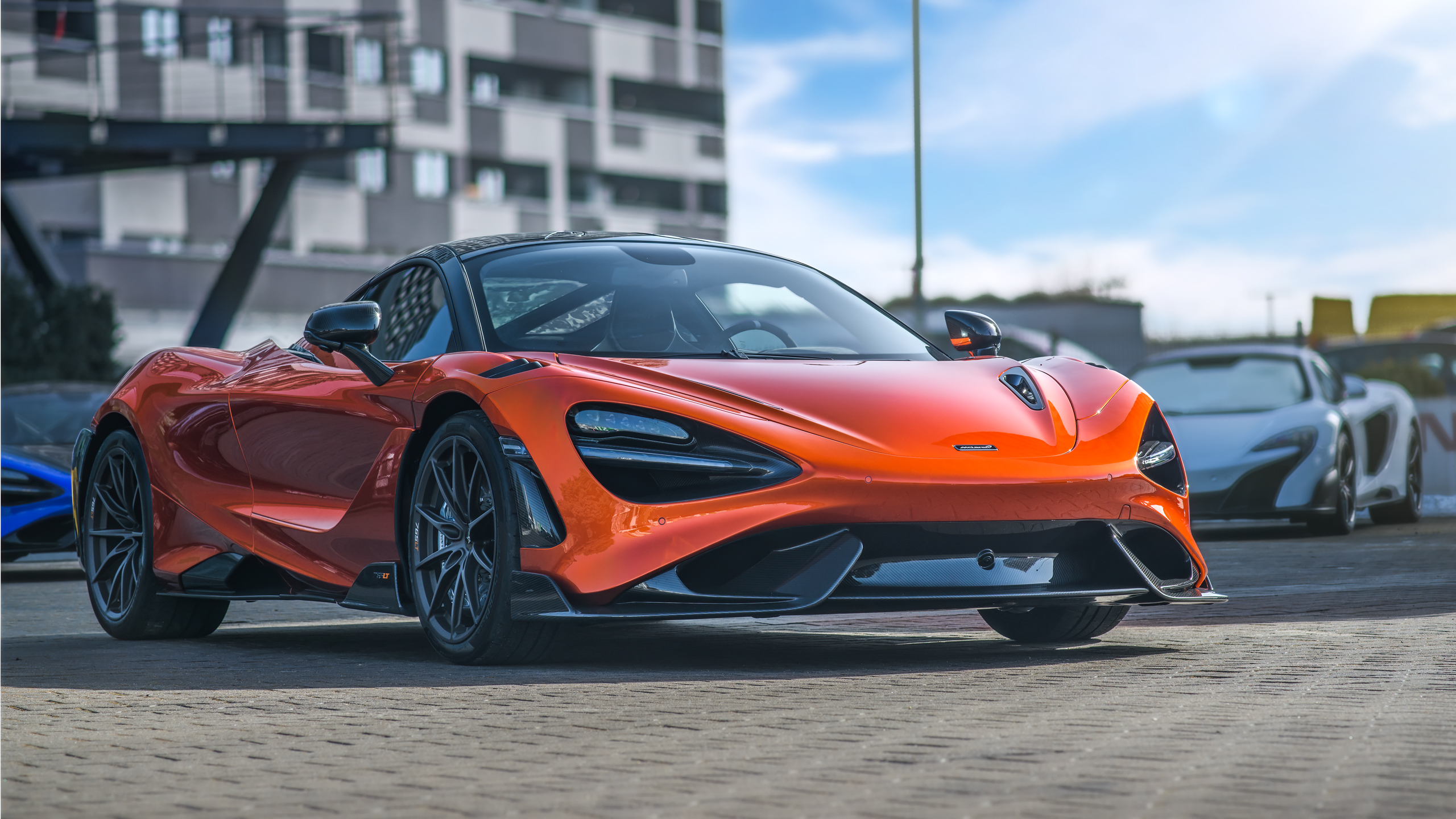 McLaren 765LT McLaren Supercars Sports Car Car Vehicle Orange Cars Depth Of Field 2560x1440