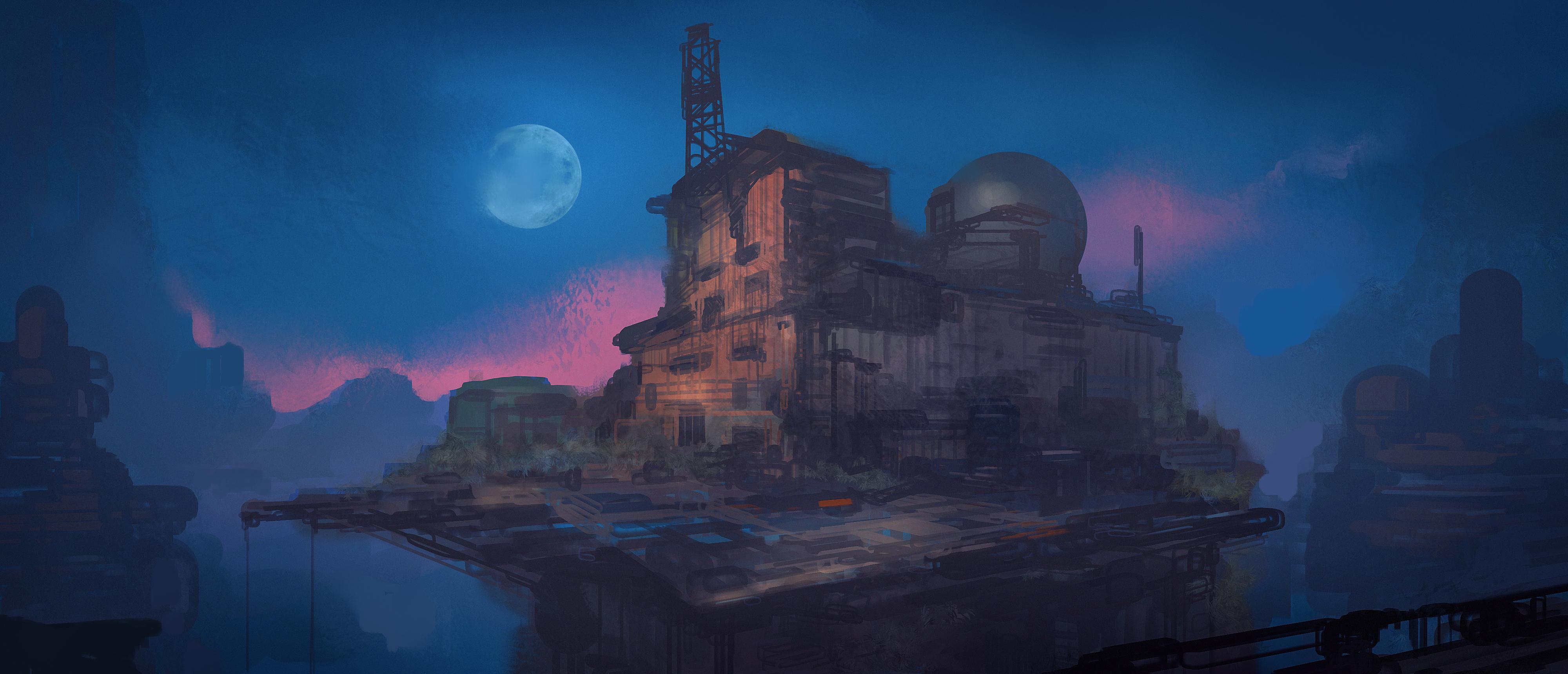 Building Moon Night 4000x1720