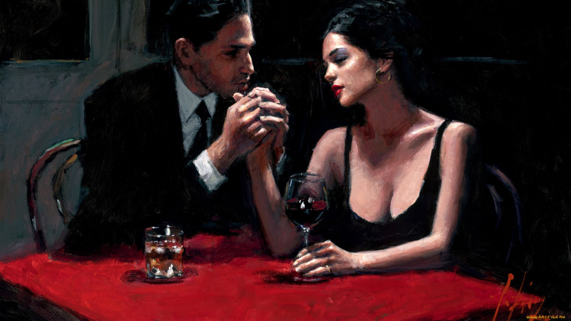 Artwork Painting Women Men Couple Love Sitting Wine 1920x1080