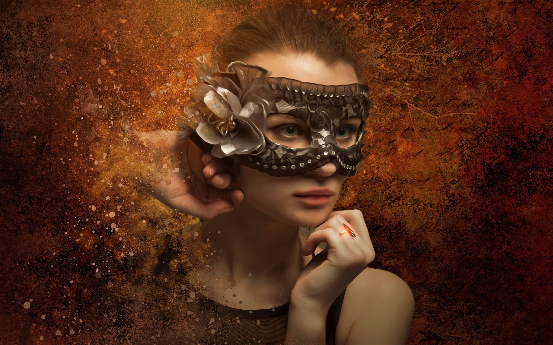 Girl Mask Woman 2880x1800