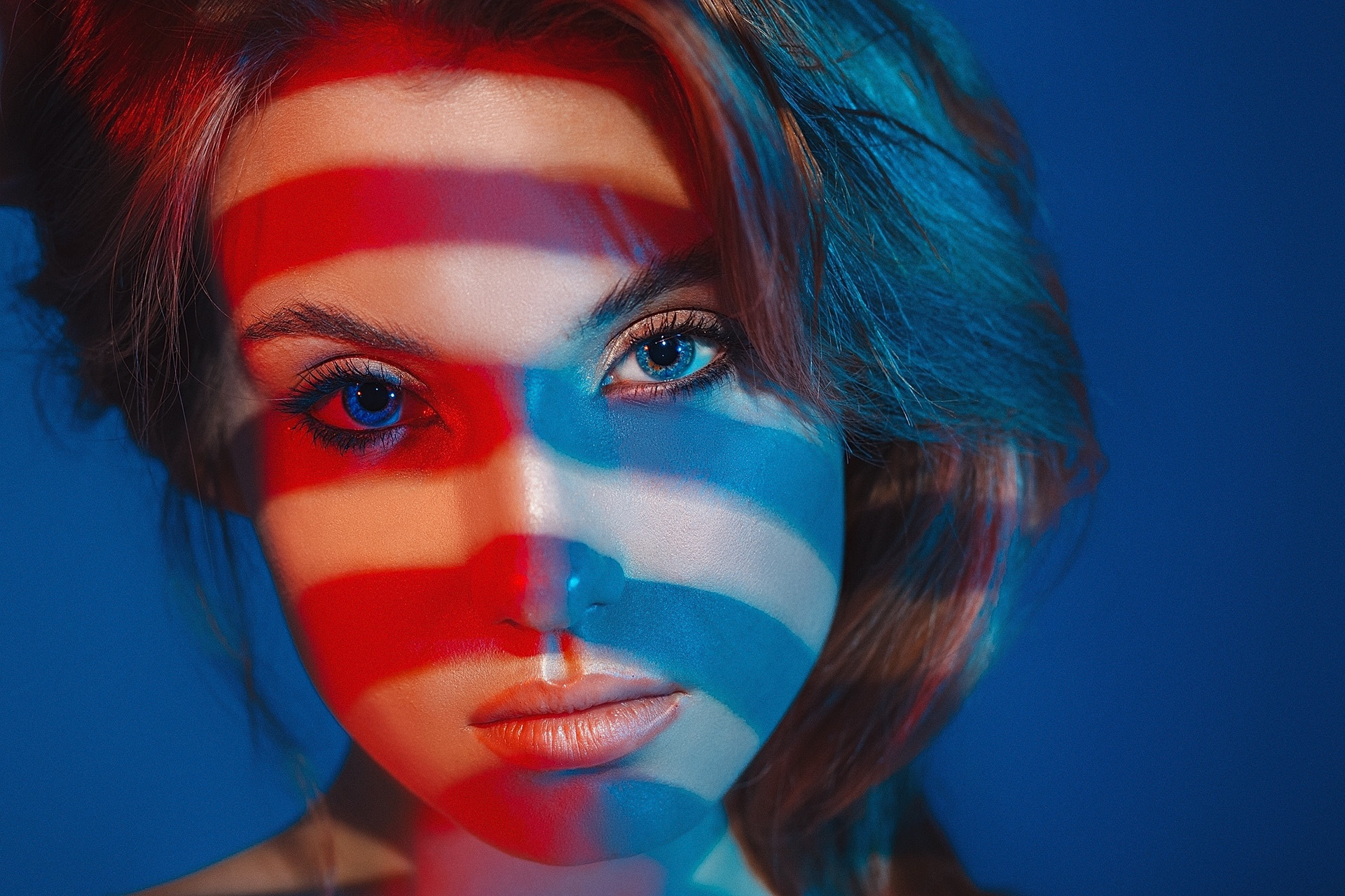 Grigoriy Lifin Model Women Blue Eyes Brunette Face Mouth Lips Lipstick Closeup Simple Background Loo 1920x1280