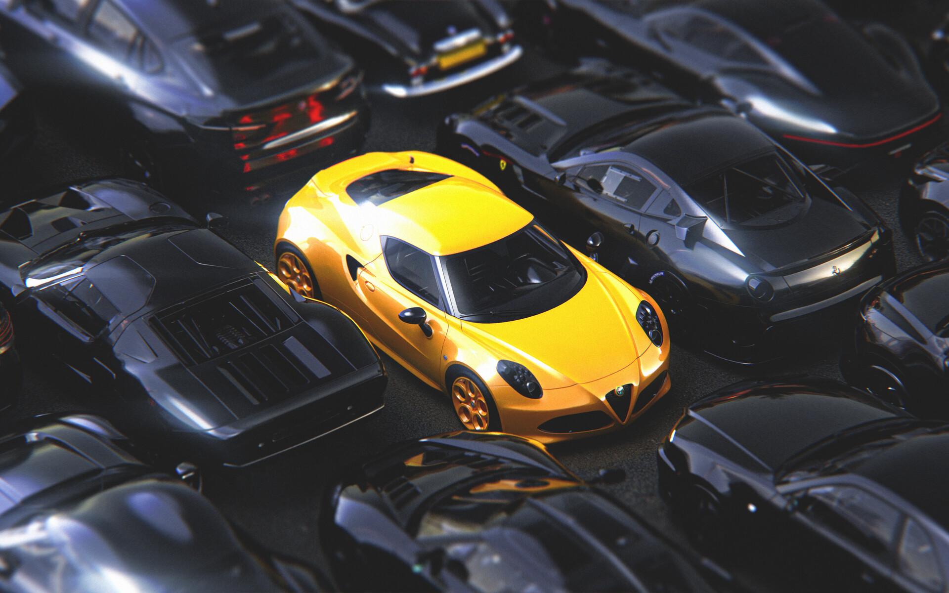 Car ArtStation CGi Render Digital Art Yellow Cars Black Cars Vehicle Ford GT Ford Ford GT Mk I Alfa  1920x1200
