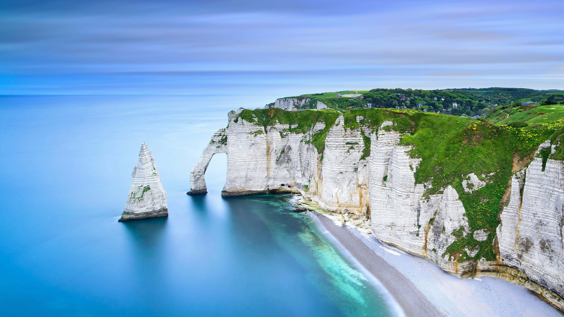 Landscape Nature Chalk Cliff Sea Rock Beach Etretat France 1920x1080