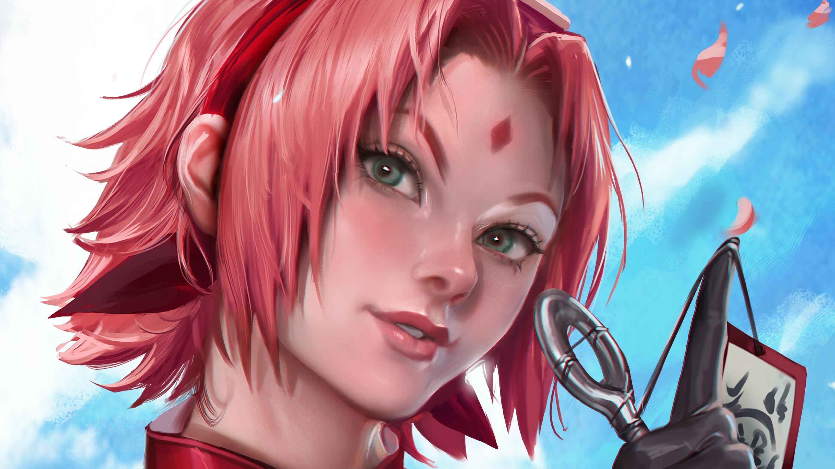 Face Girl Naruto Pink Hair Sakura Haruno Short Hair 2782x1565