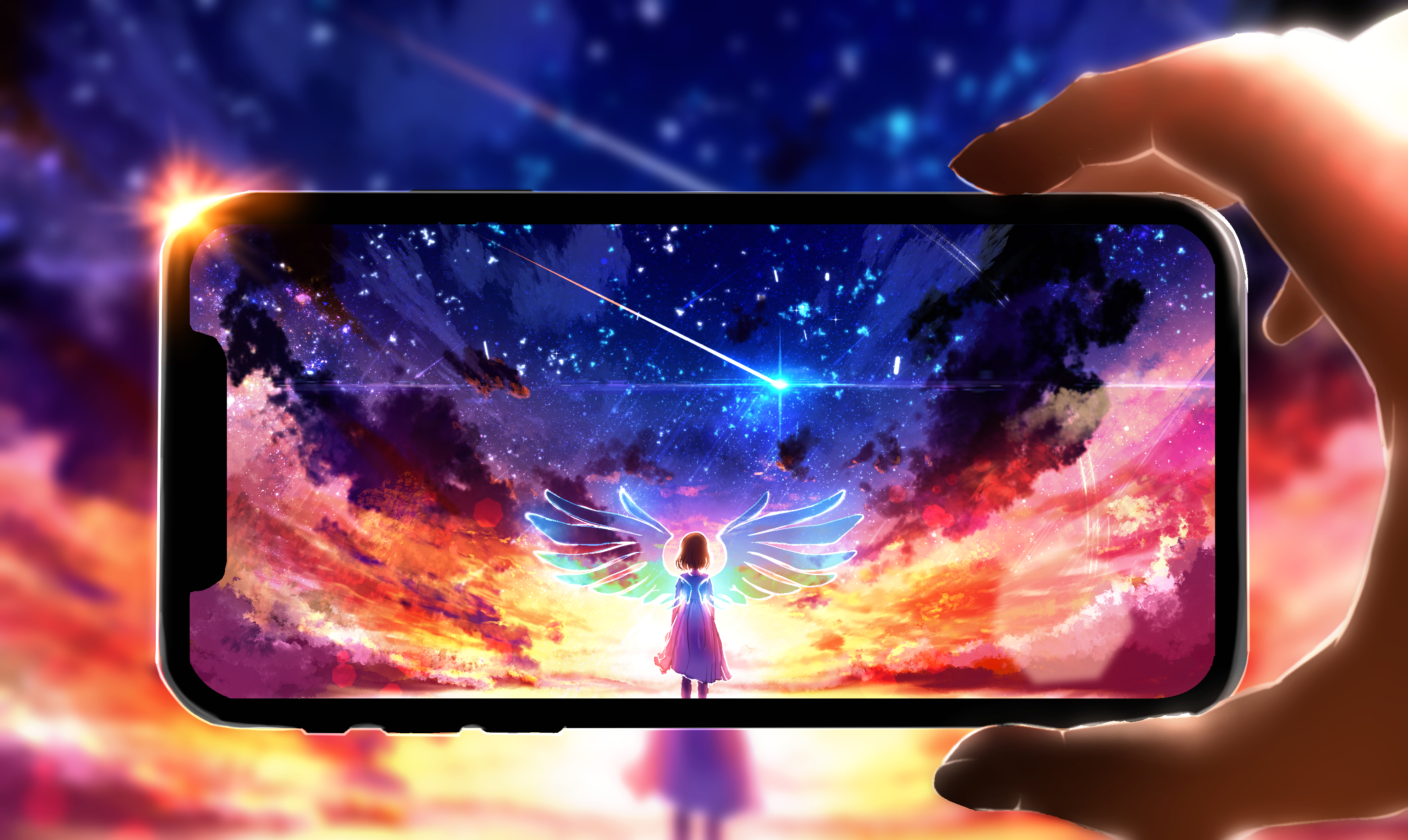 Girl Smartphone Wings Iphone 3072x1833