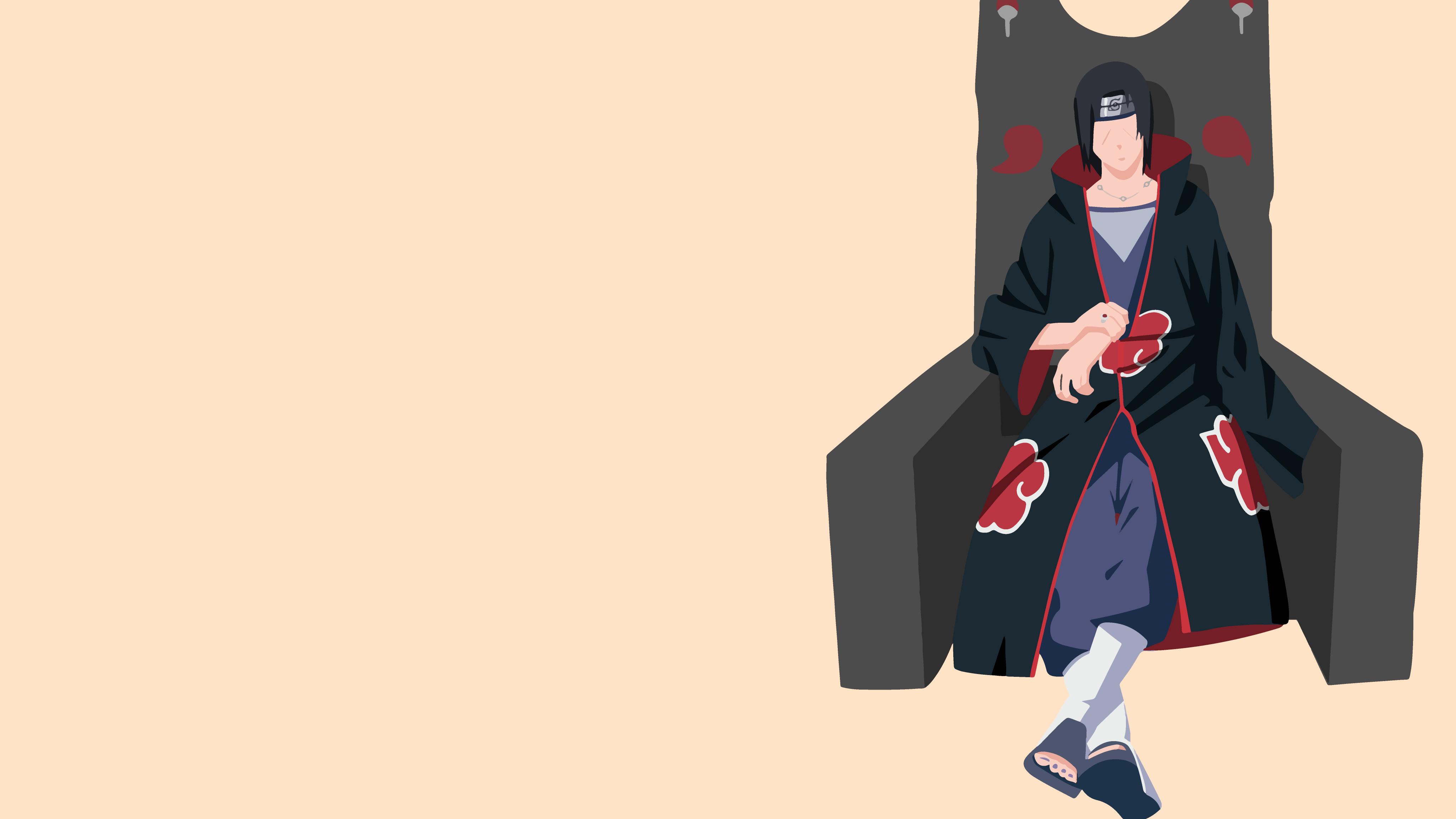 Akatsuki Naruto Black Hair Itachi Uchiha Minimalist Naruto Throne Uchiha Clan Warrior 4098x2304