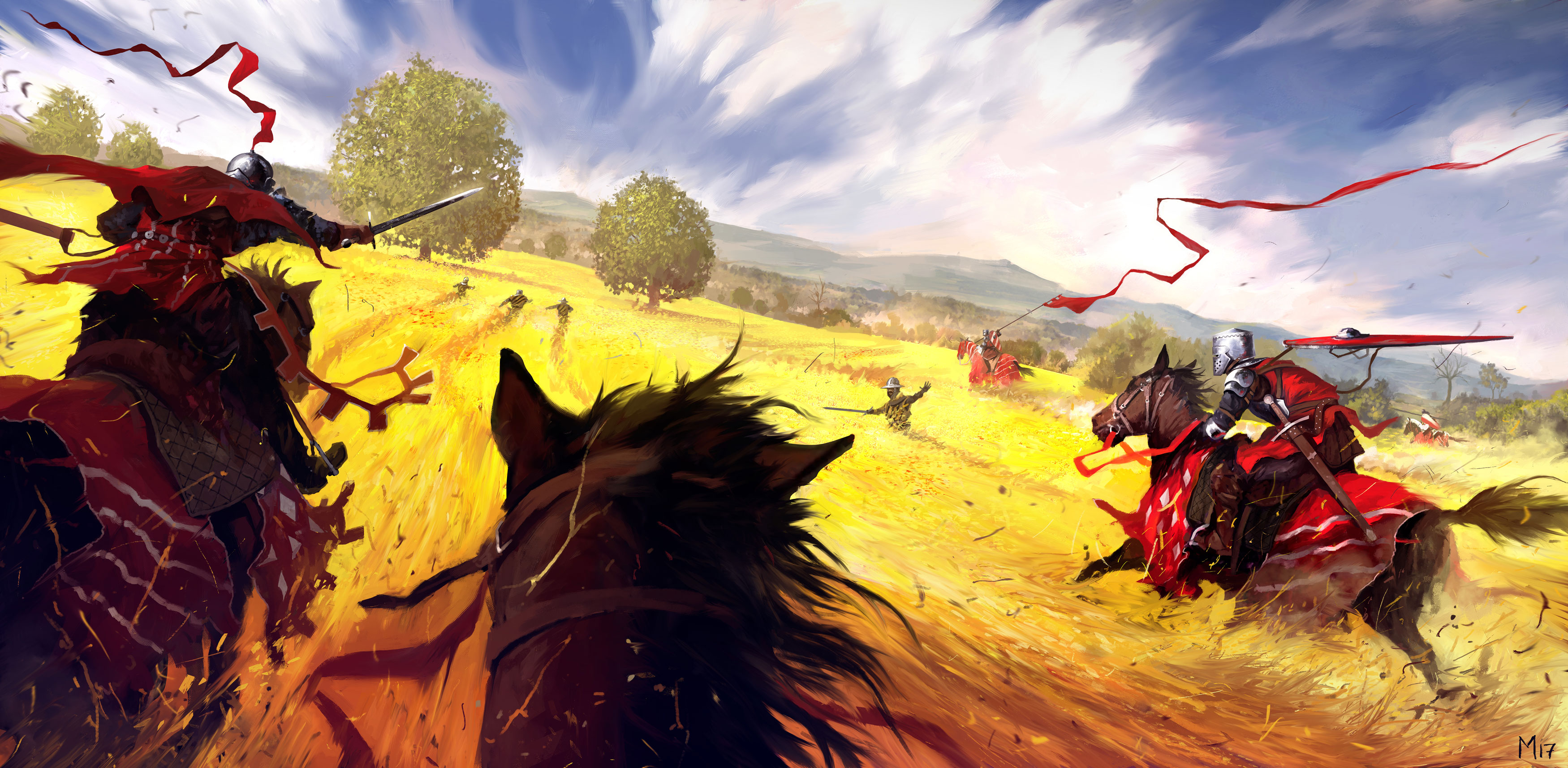 Field Horse Knight Sword Warrior 3500x1715