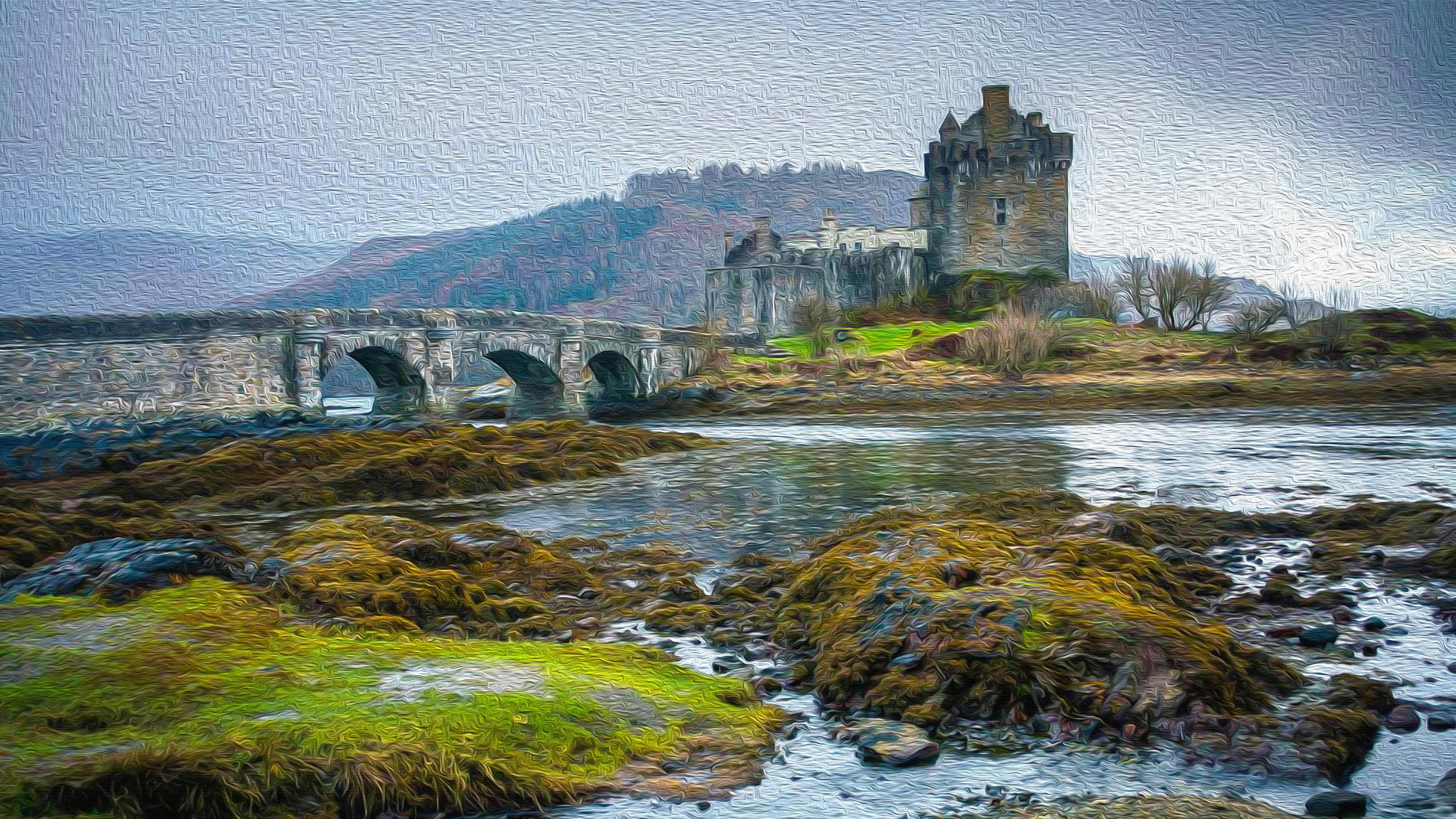 Bridge Castle Loch Duich Scotland 3840x2160
