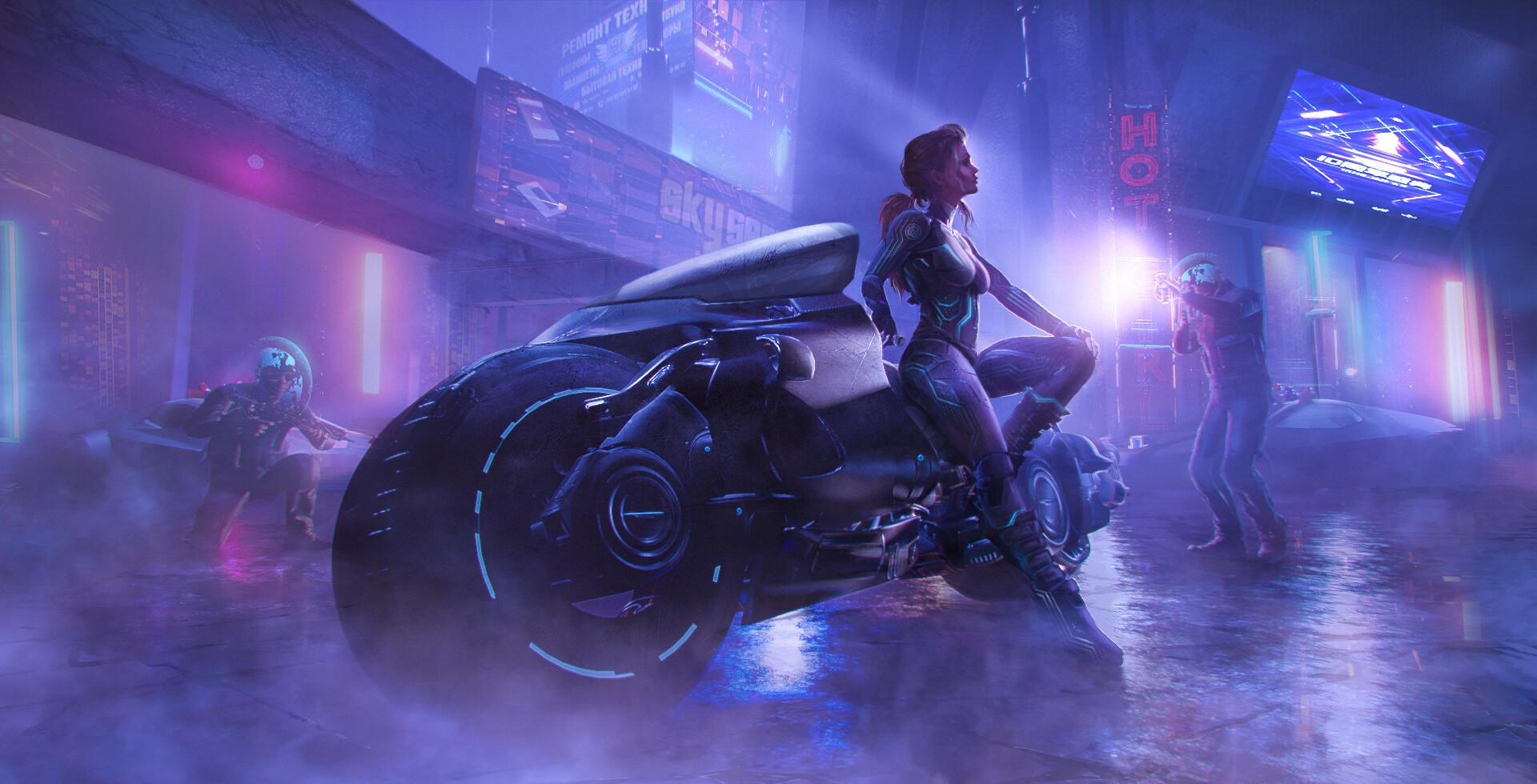 Artwork Women Motorcycle Vehicle Futuristic Science Fiction Science Fiction Women Women With Motorcy 1920x980