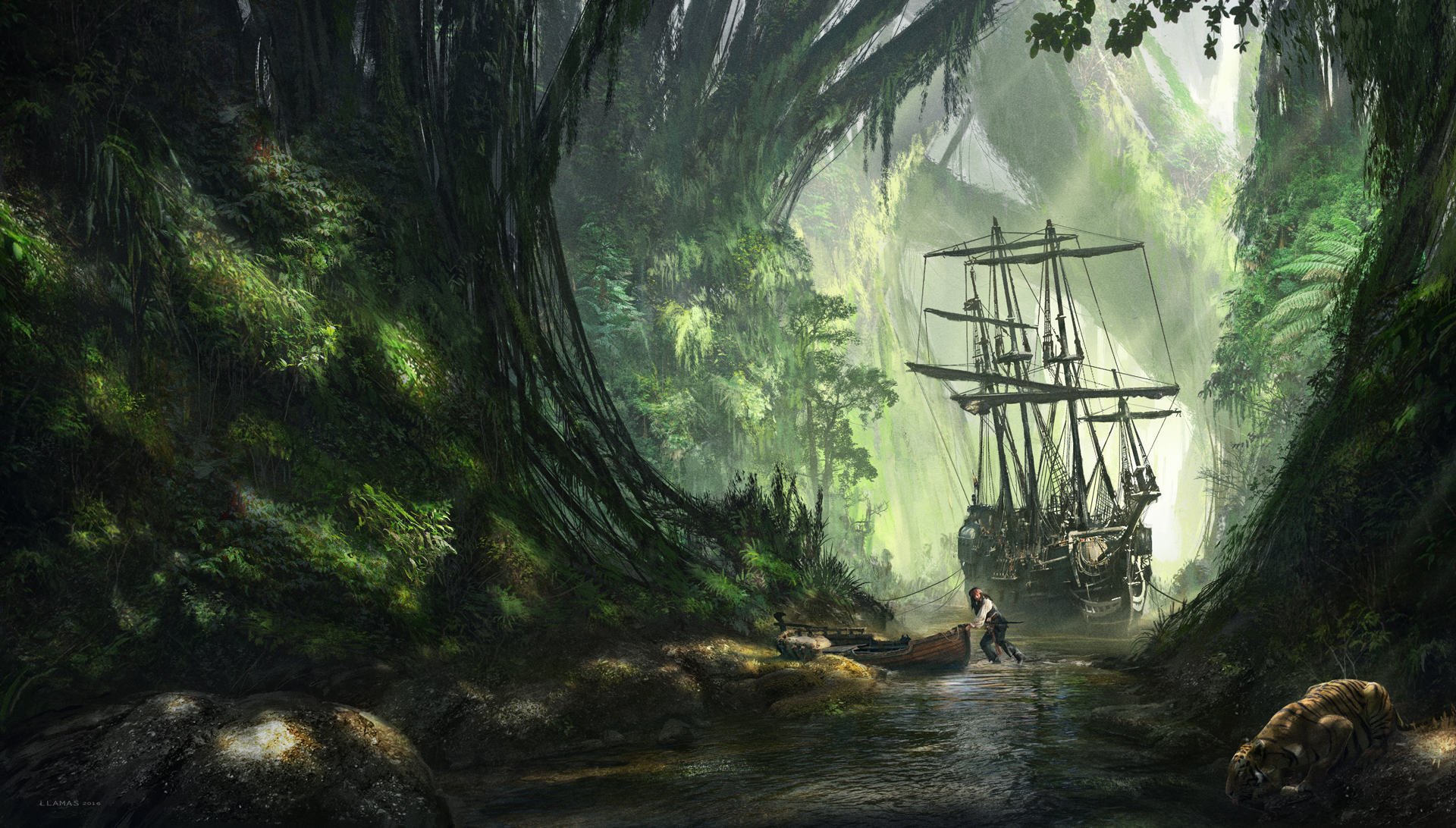 Forest Jack Sparrow Pirate River Ship Tiger 1920x1092