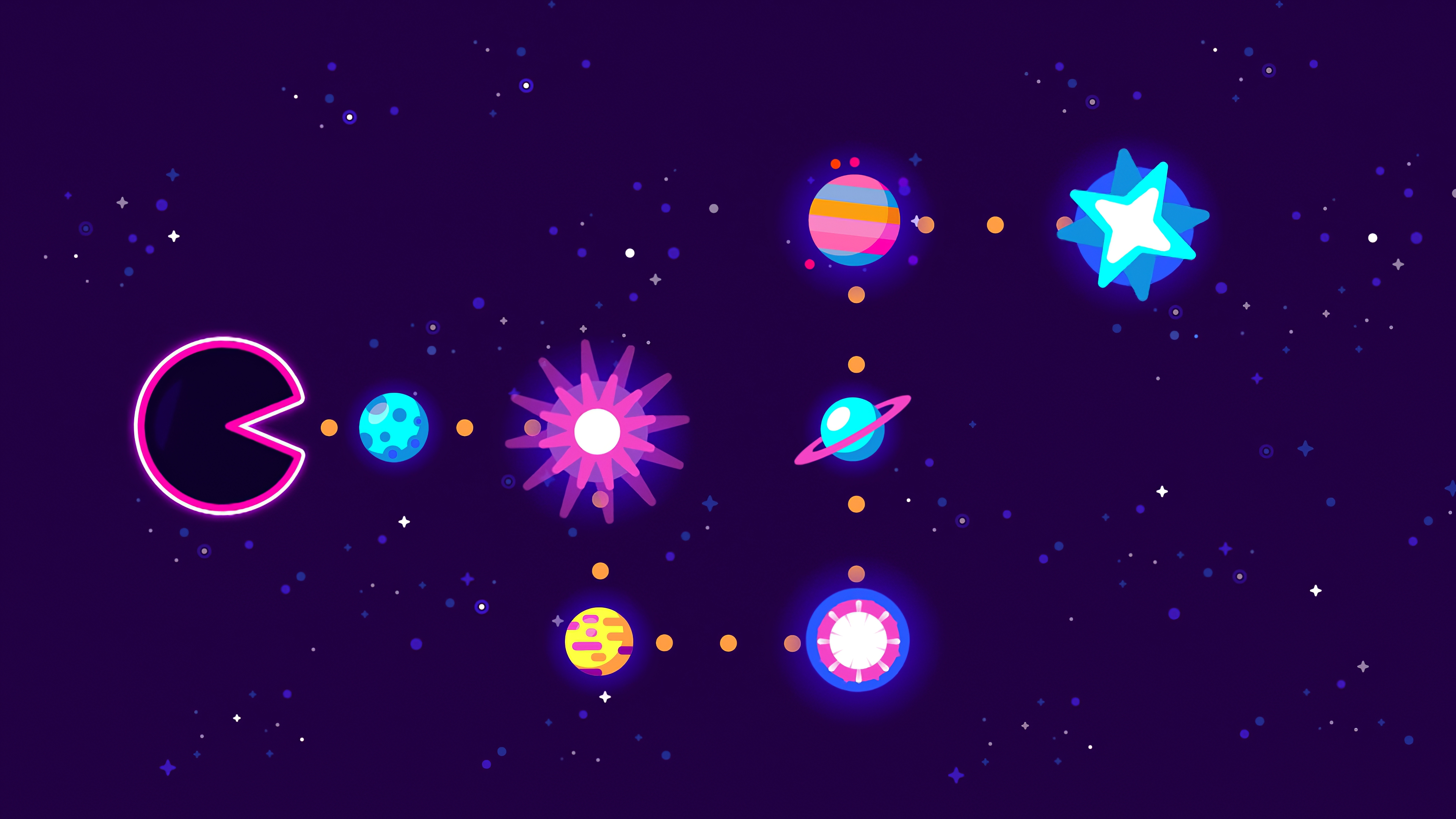 Digital Art Minimalist Pac Man Planet Space 3840x2160