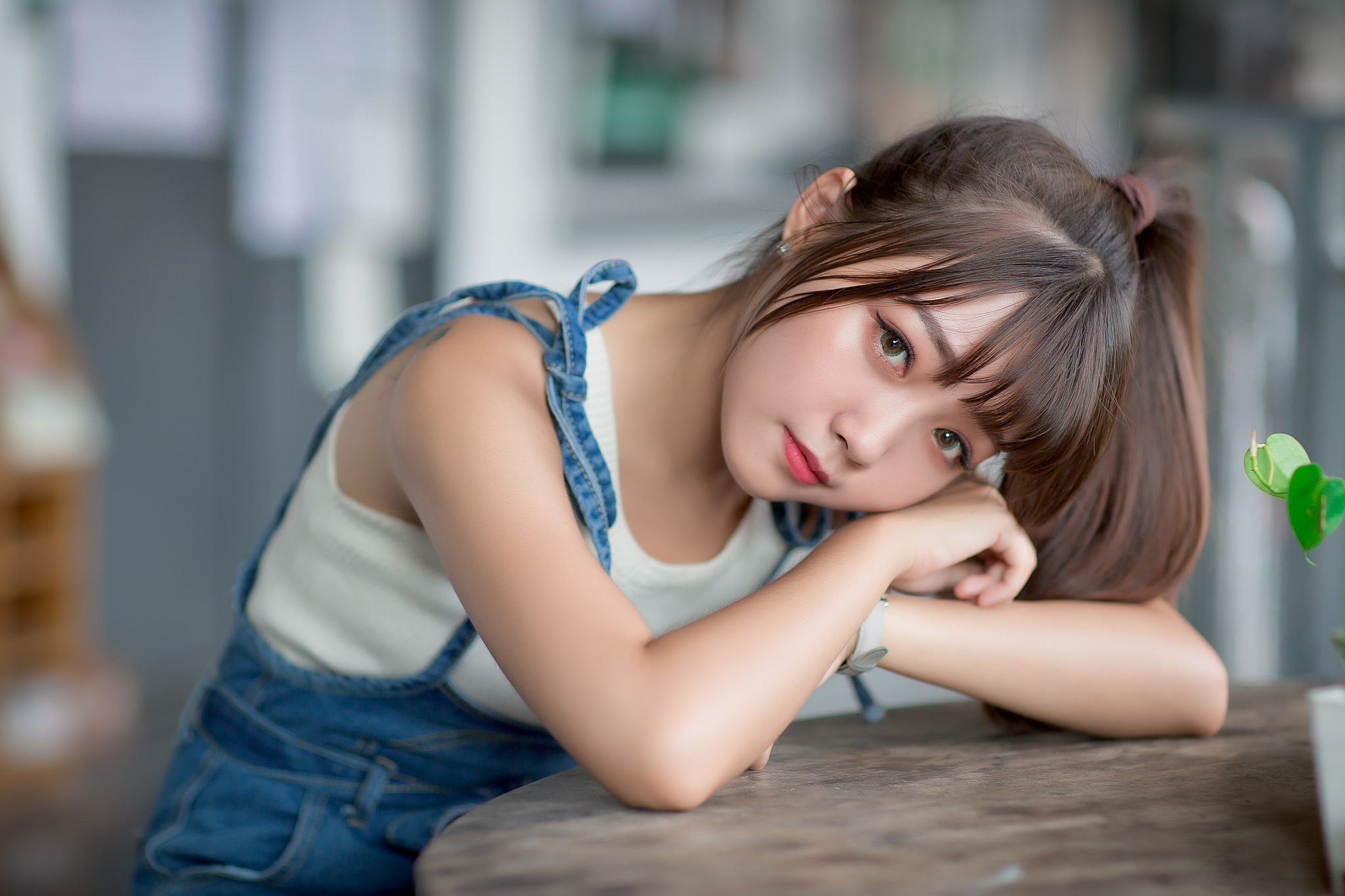 Asian Brunette Depth Of Field Girl Lipstick Model Woman 2048x1365