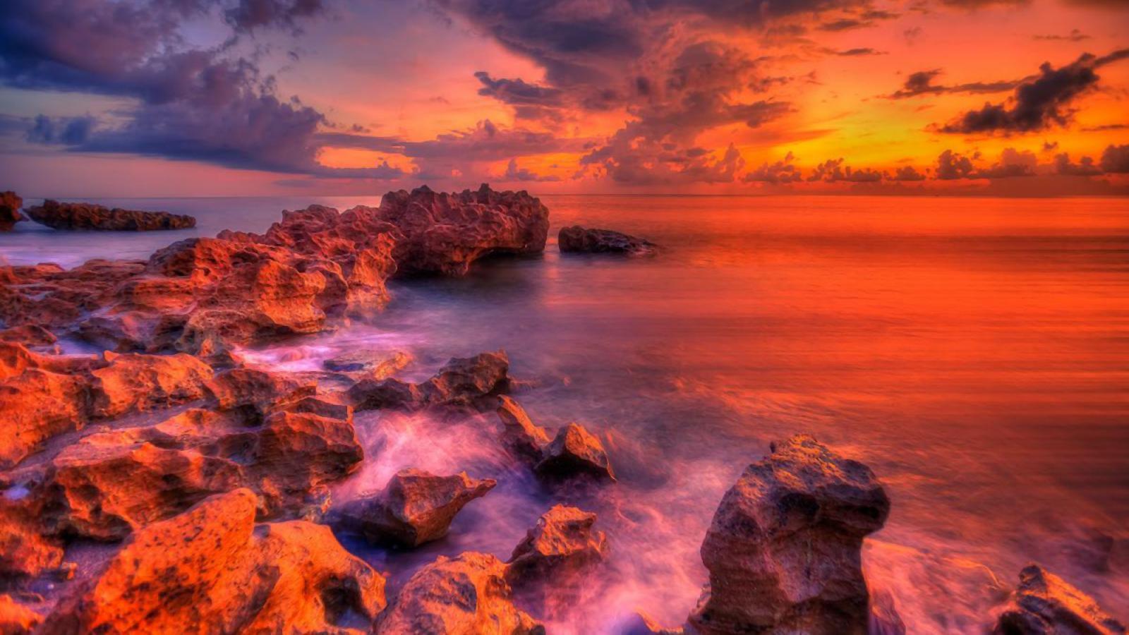 Colors Earth Horizon Ocean Rock Sunset Orange Color 1600x900