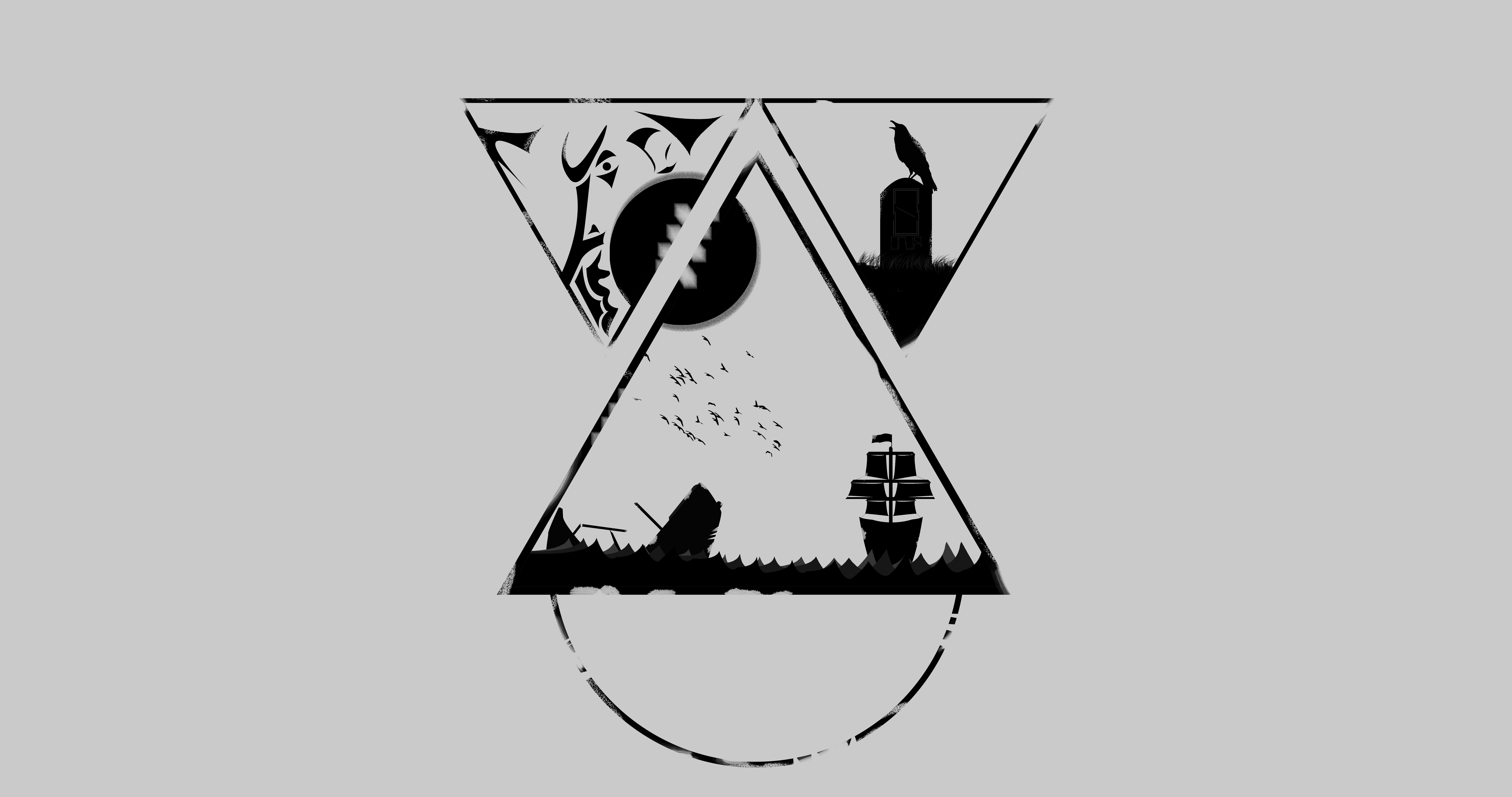 Minimalism Simple Simple Background White Triangle Geometric Figures Geometry Black Ship Sea Raven C 8192x4320