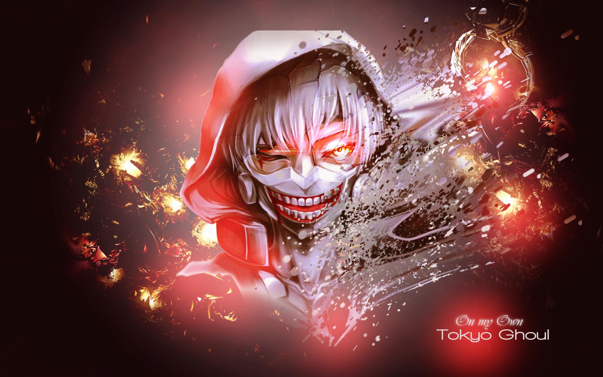 Hood Ken Kaneki Mask Red Eyes Teeth Tokyo Ghoul 1920x1200