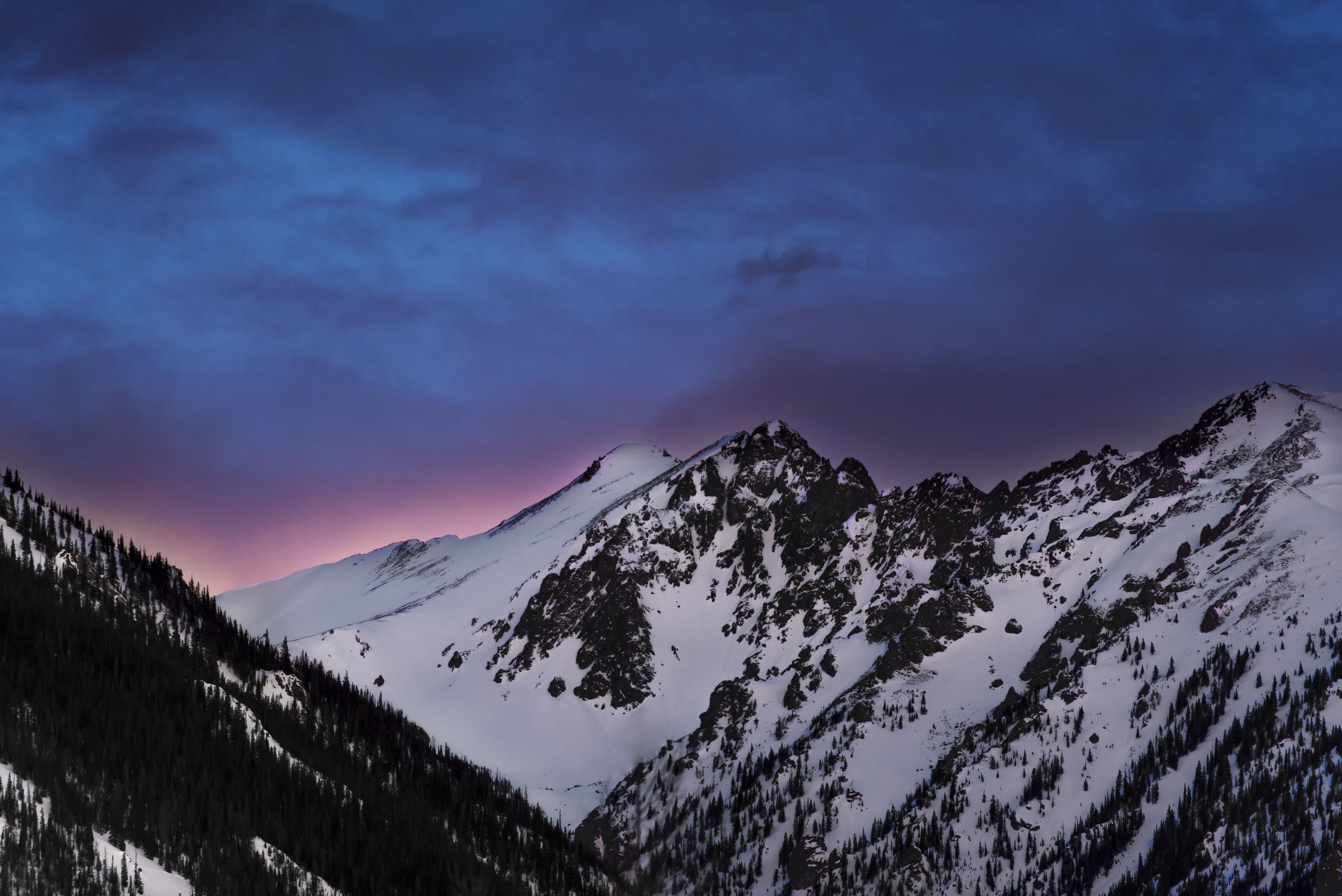 Evening Mountain Sky Snow Twilight Winter 6016x4016