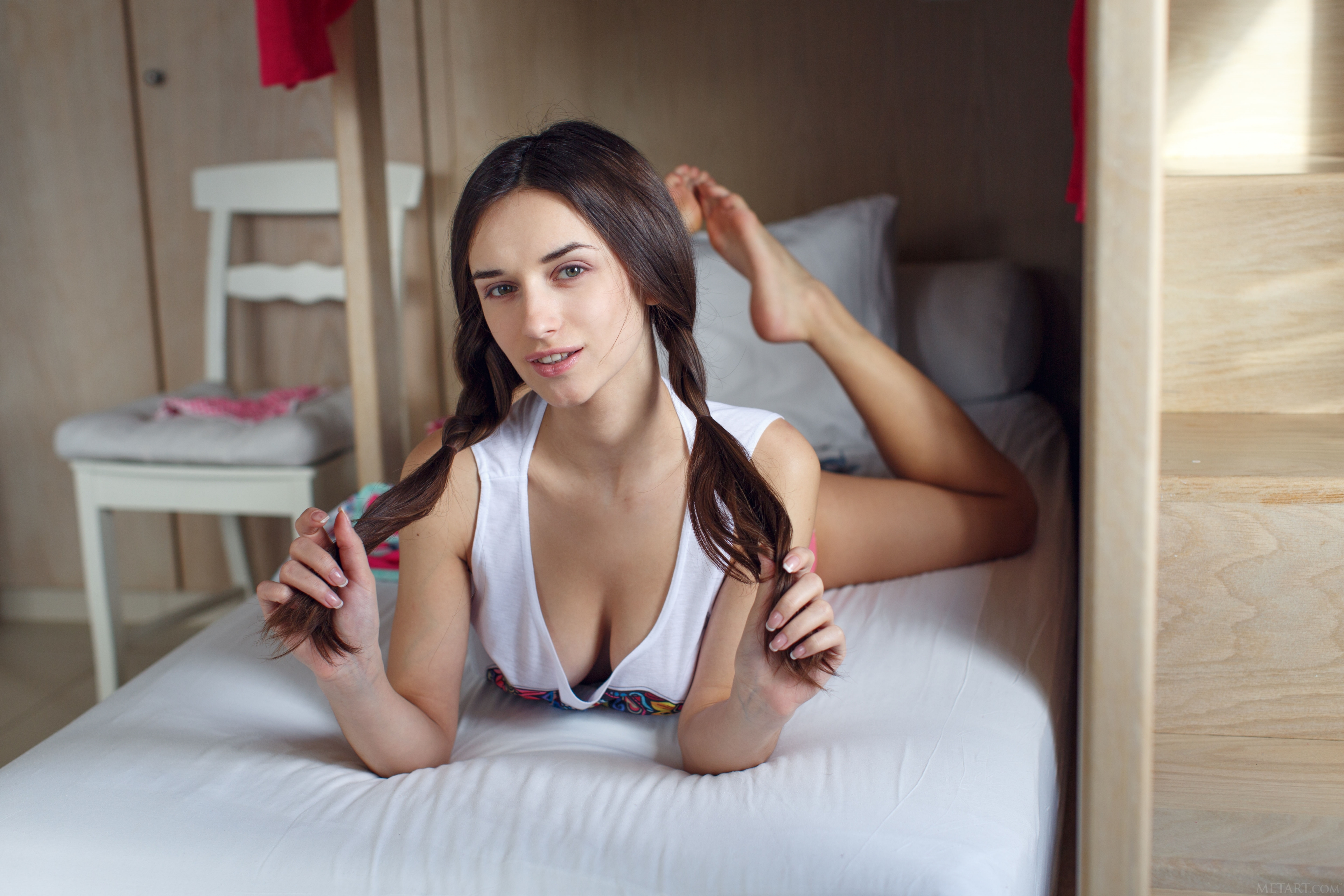 Women Model Brunette Looking At Viewer Parted Lips Smiling Pigtails In Bed Depth Of Field Tank Top W 3840x2560