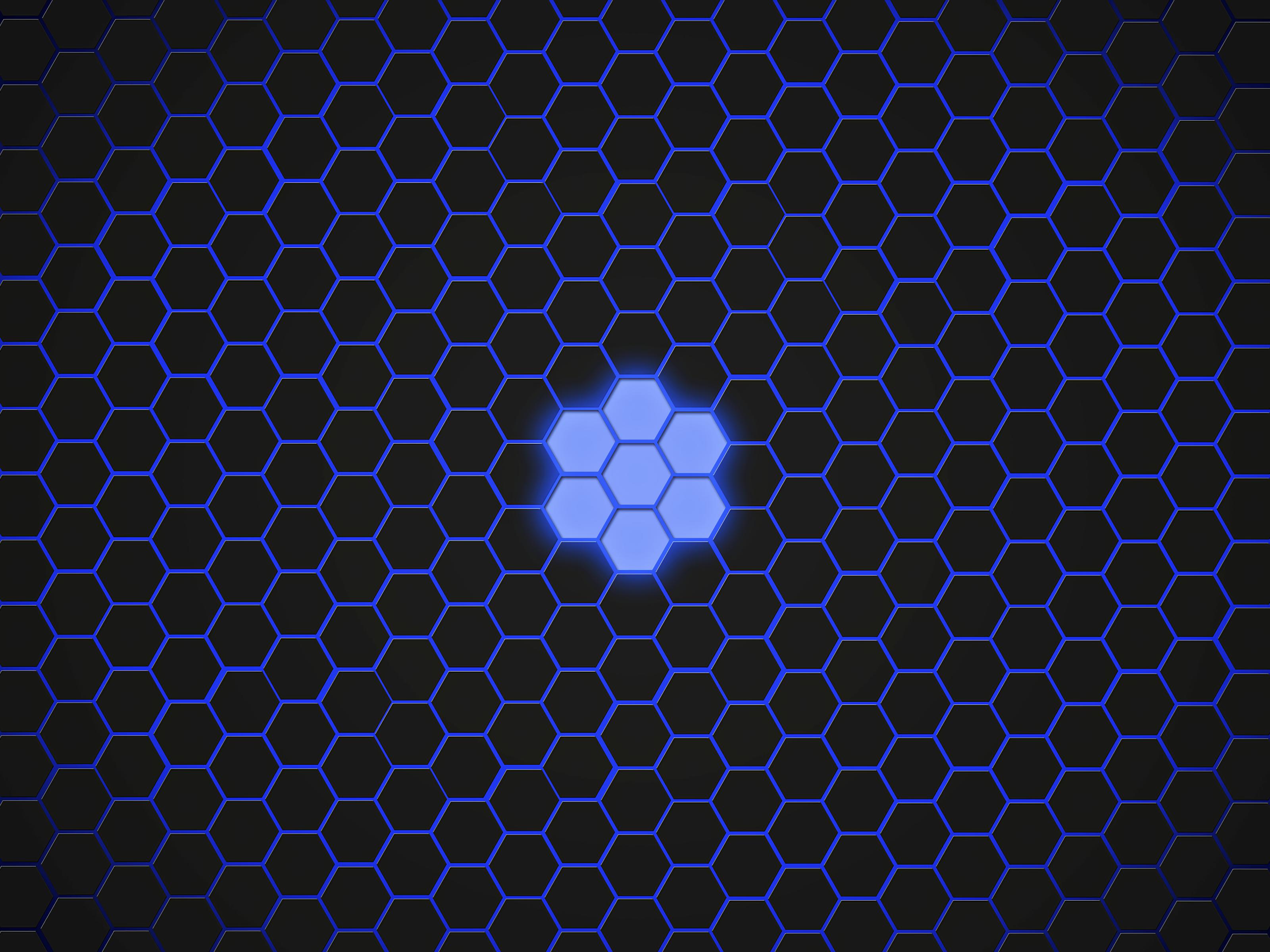 Artistic Blue Digital Art Hexagon Pattern 3200x2400
