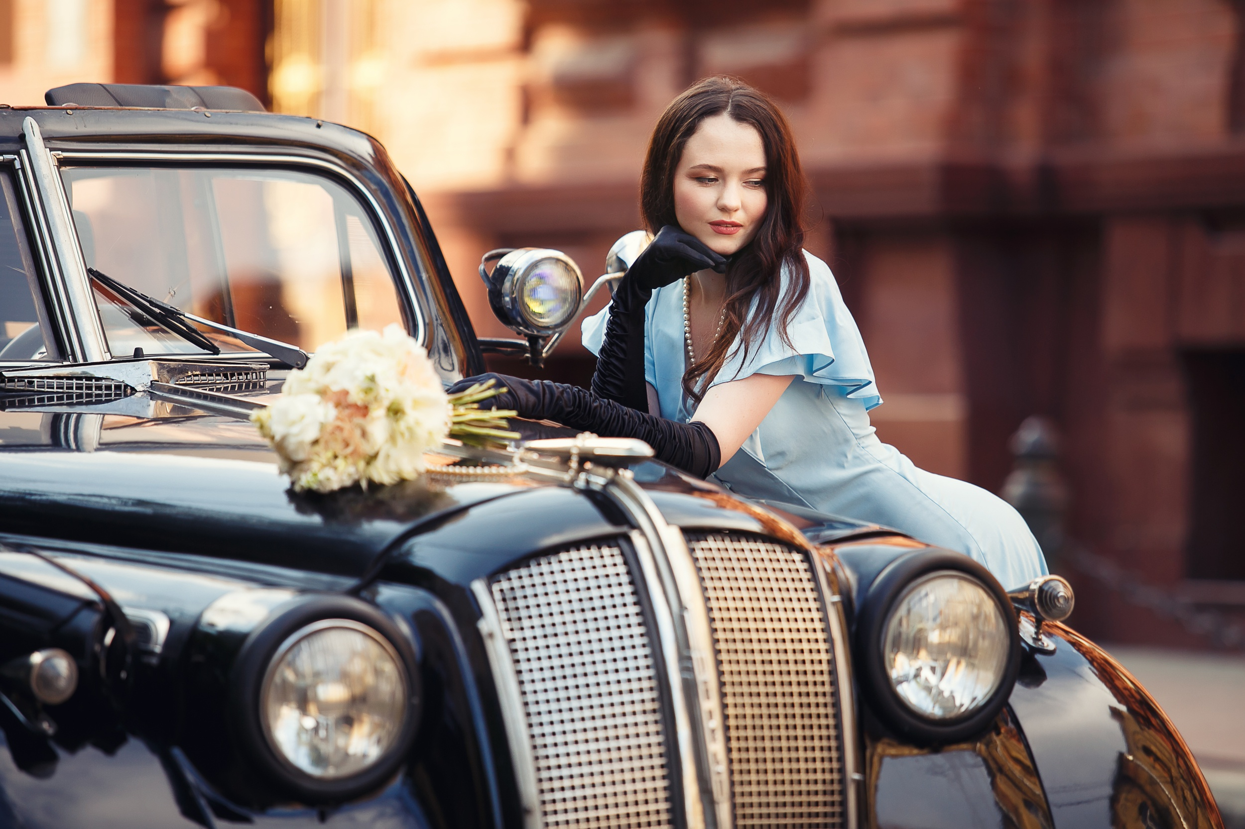 Women Urban Outdoors Women Outdoors Women With Cars Car Vehicle Black Cars Pearl Necklace Brunette M 2500x1666