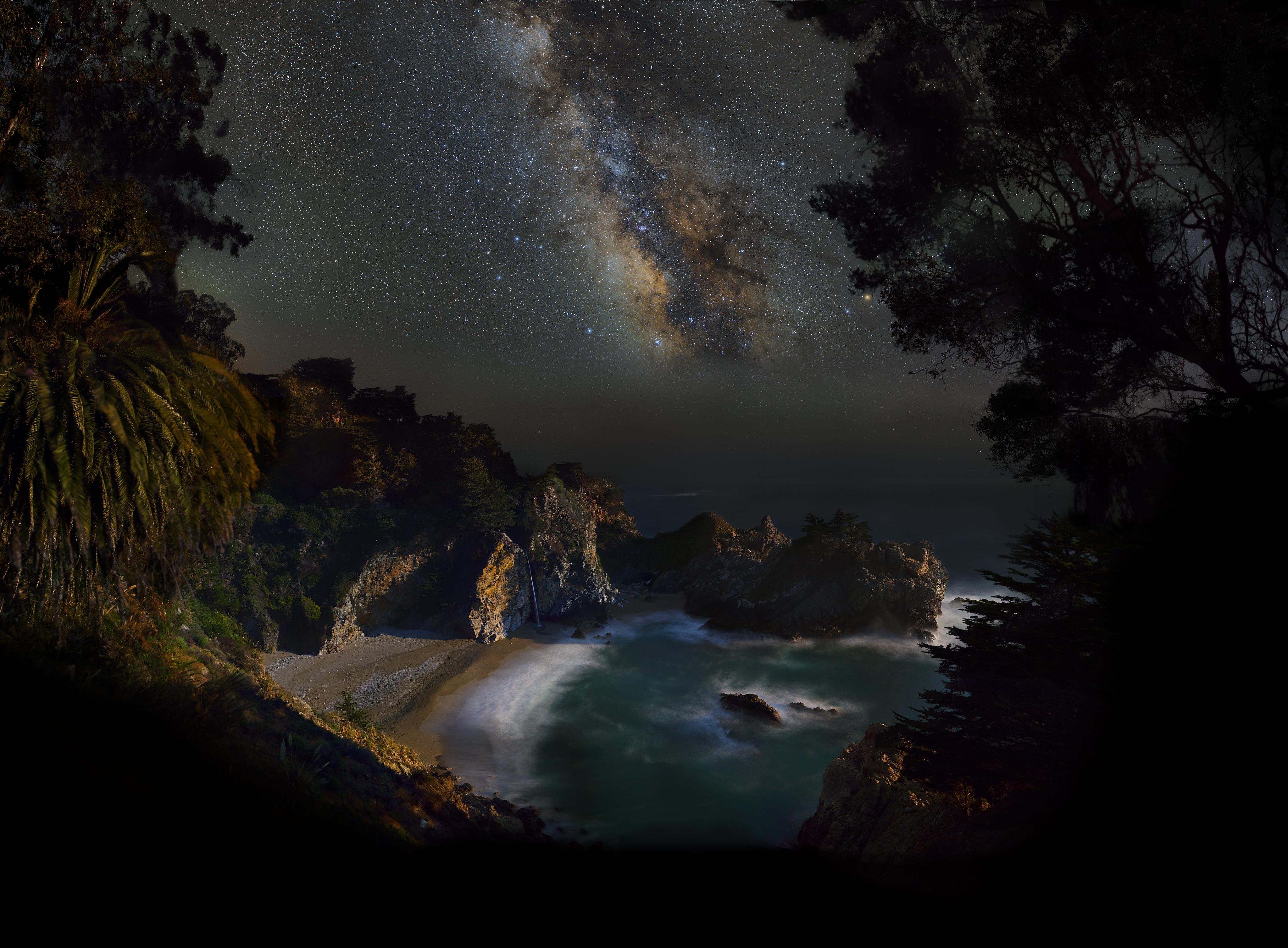 Big Sur California Mcway Falls Milky Way Mountain Night Sky Starry Sky Stars Waterfall 4096x3014