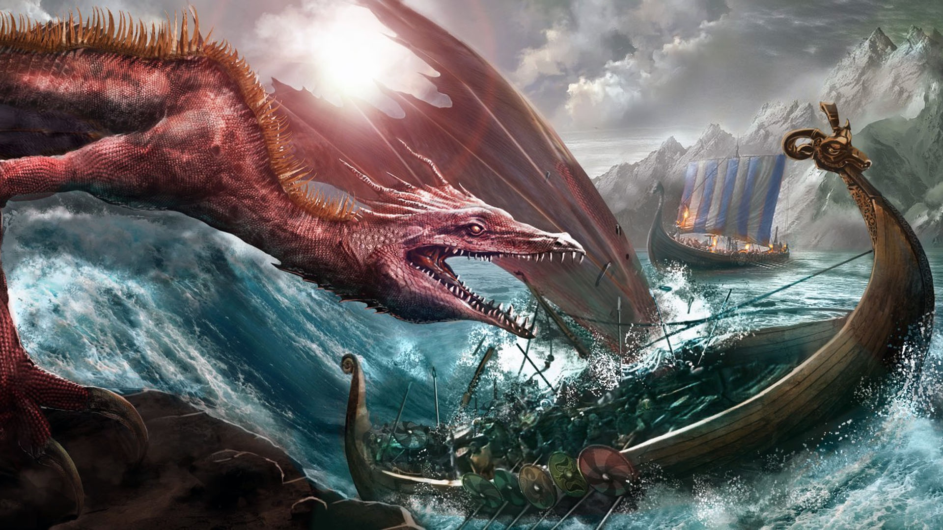 Boat Dragon Drakkar Viking 1920x1080