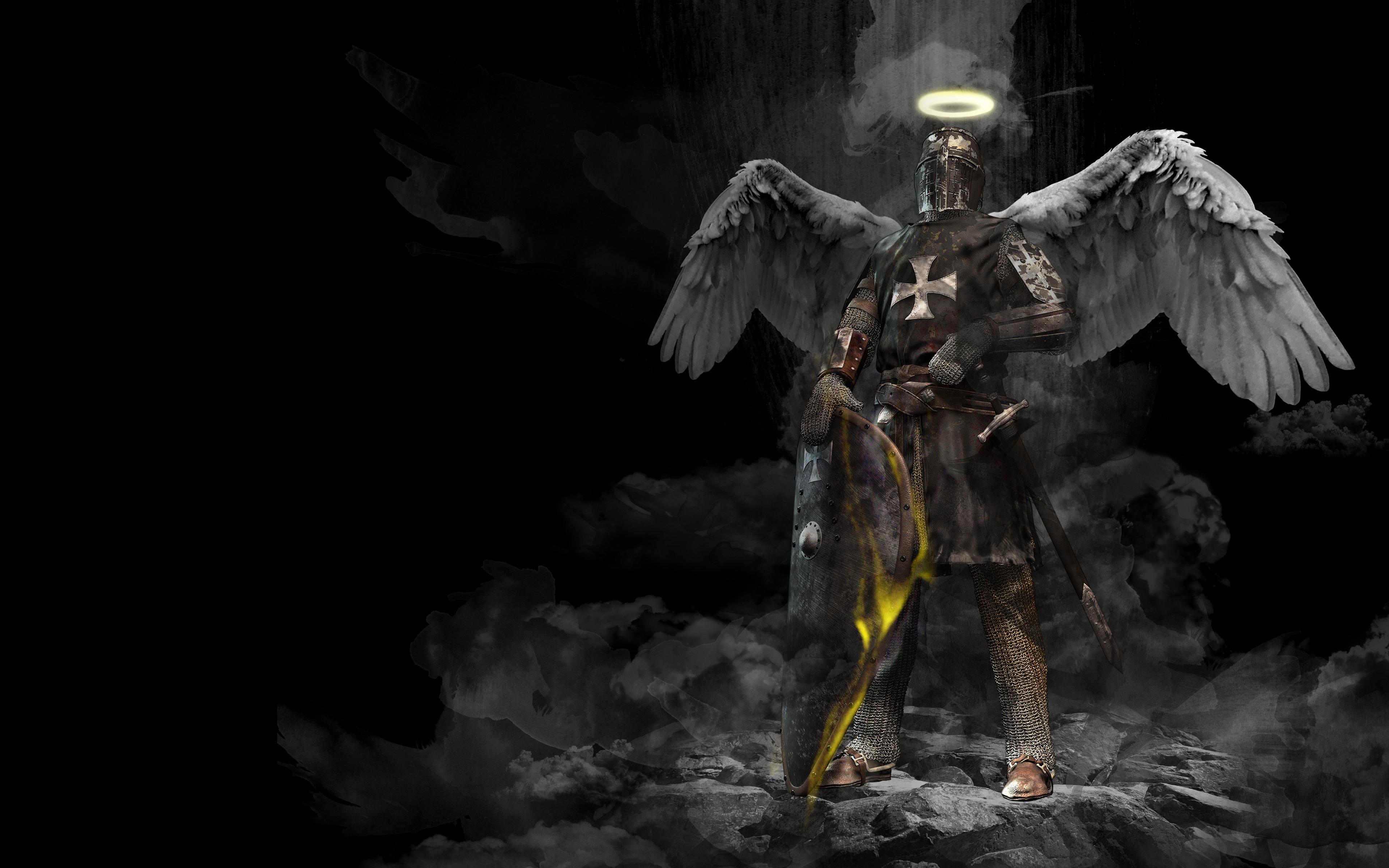 Knight Shield Sword Warrior Wings 3840x2400