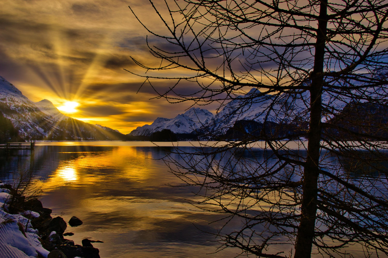 Lake Mountain Nature Sunset Switzerland Winter 3000x1996