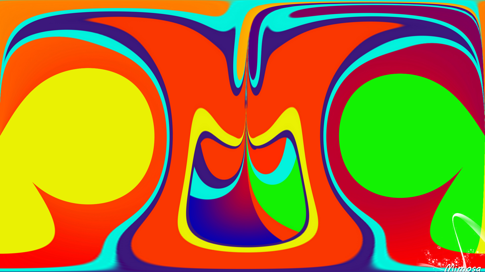 Abstract Artistic Colorful Digital Art Orange Color 1920x1080