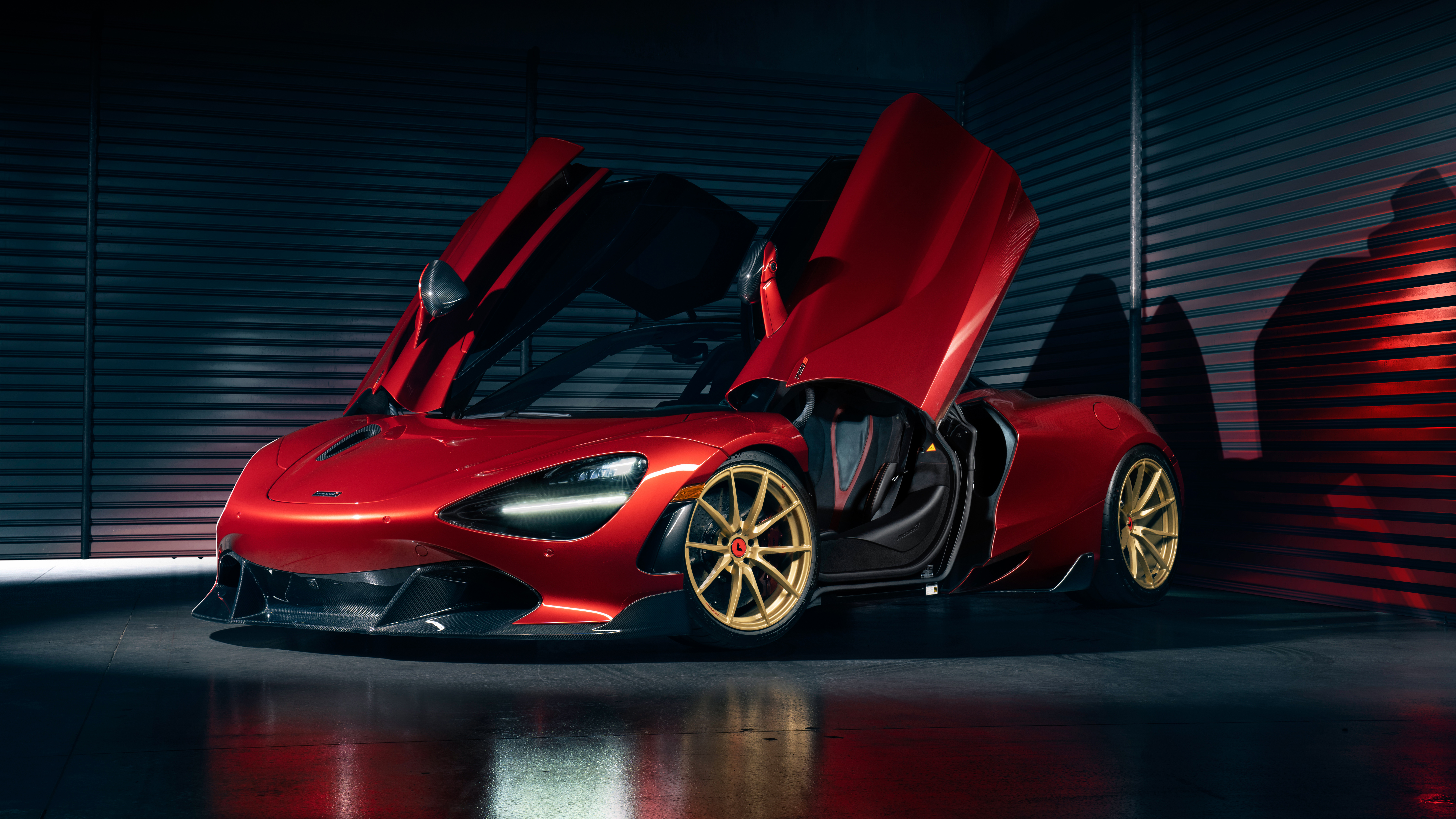 McLaren 720S McLaren Car Supercars Red Cars Spotlights Vorsteiner Low Light British Cars Scissor Doo 7680x4320