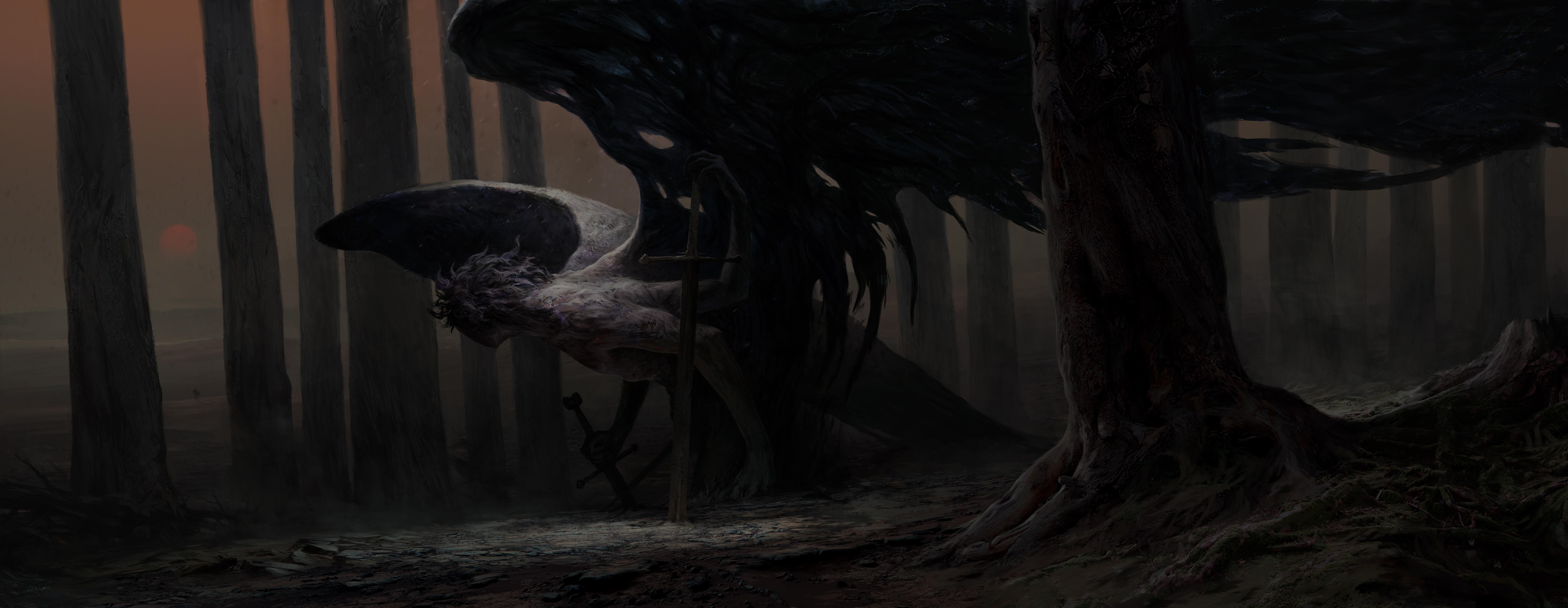 Creature Creepy Dark Sword Wings 8377x3248