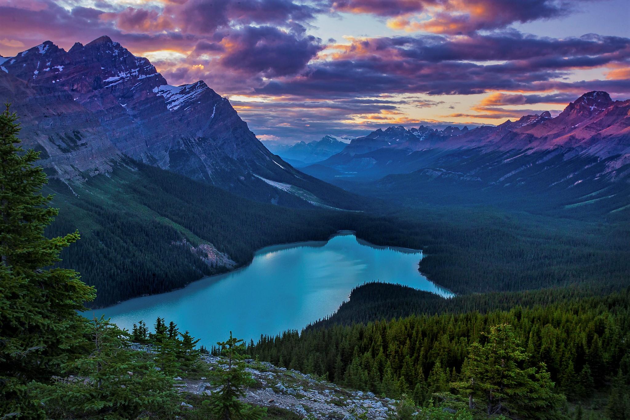 Cloud Forest Lake Landscape Mountain Sunset 2048x1365