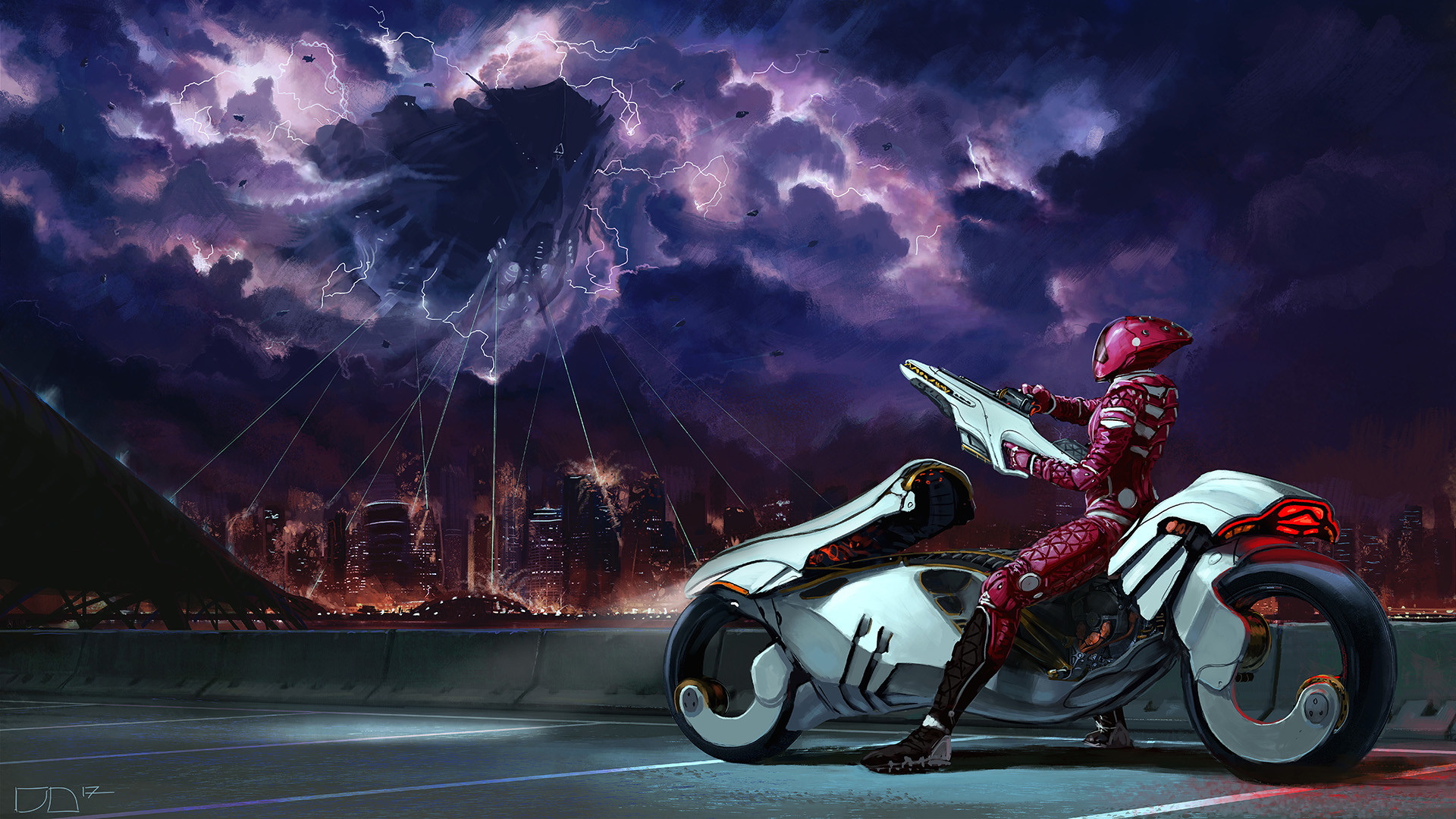 Alien City Cloud Futuristic Space Invasion Vehicle Warrior Weapon 1920x1080