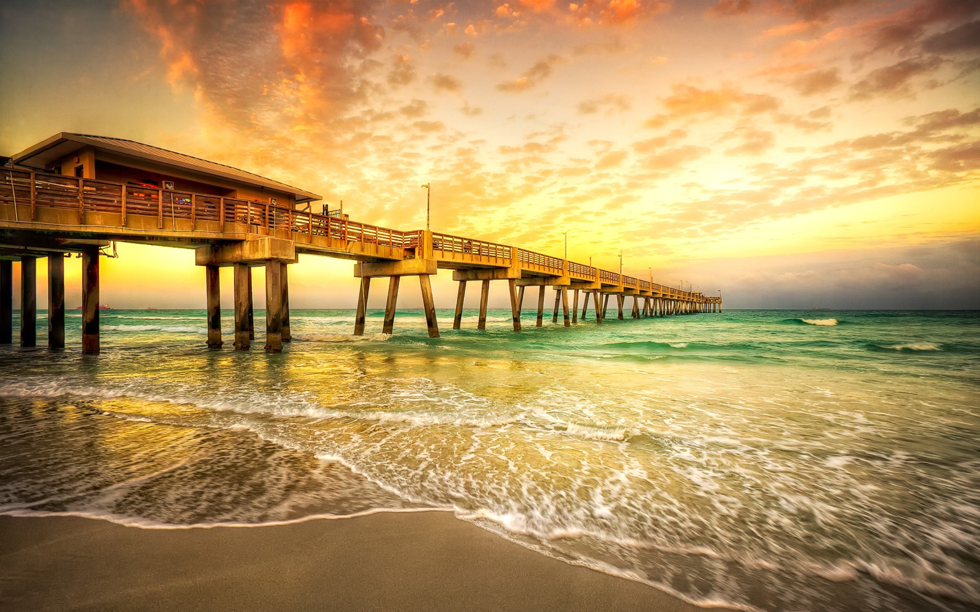 Horizon Man Made Ocean Pier Sky Sunset Orange Color 1920x1200